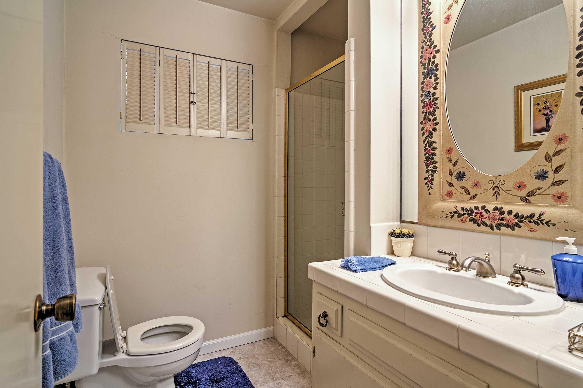 This bathroom boasts a walk-in shower.