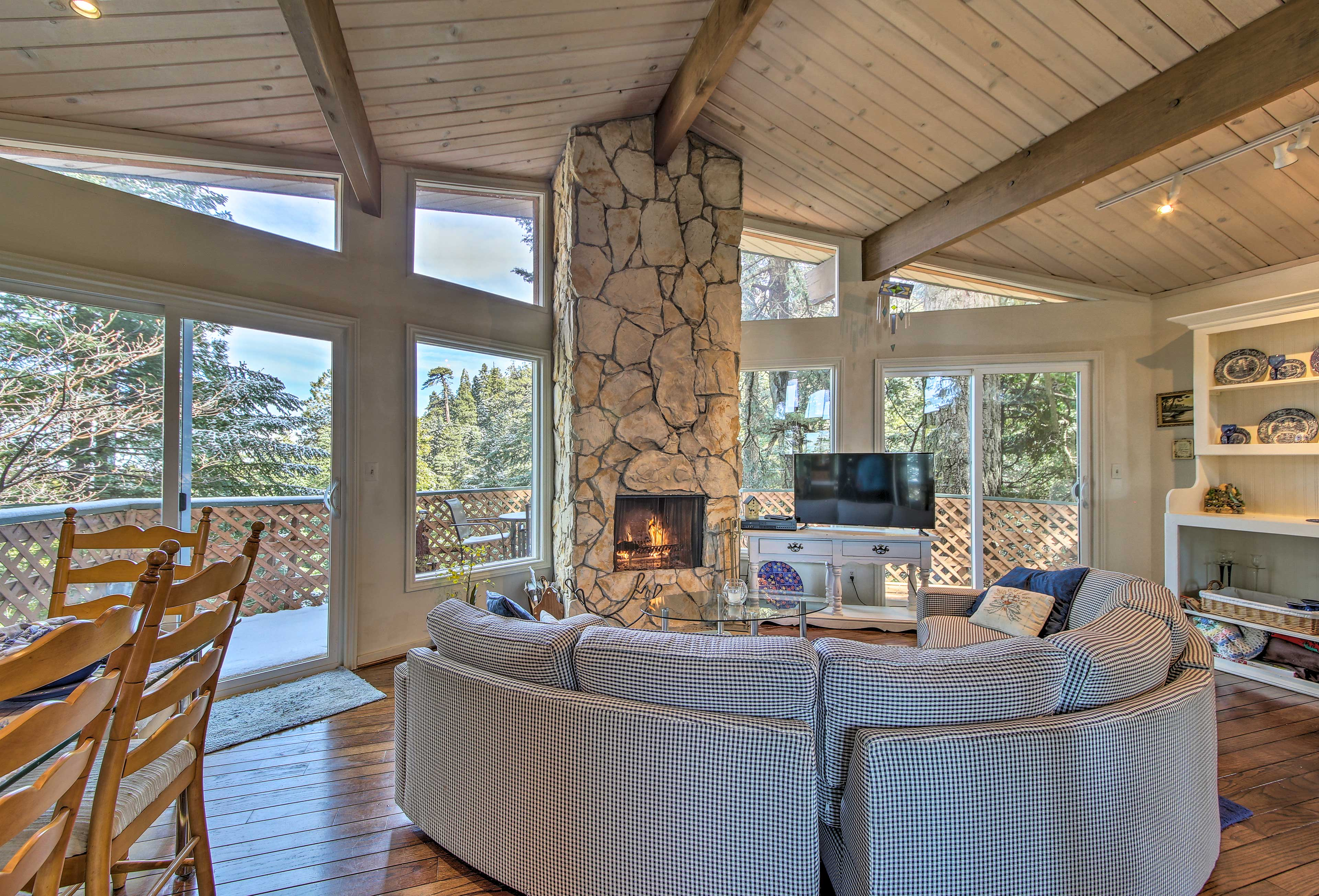 Natural light pours through the doors and windows.