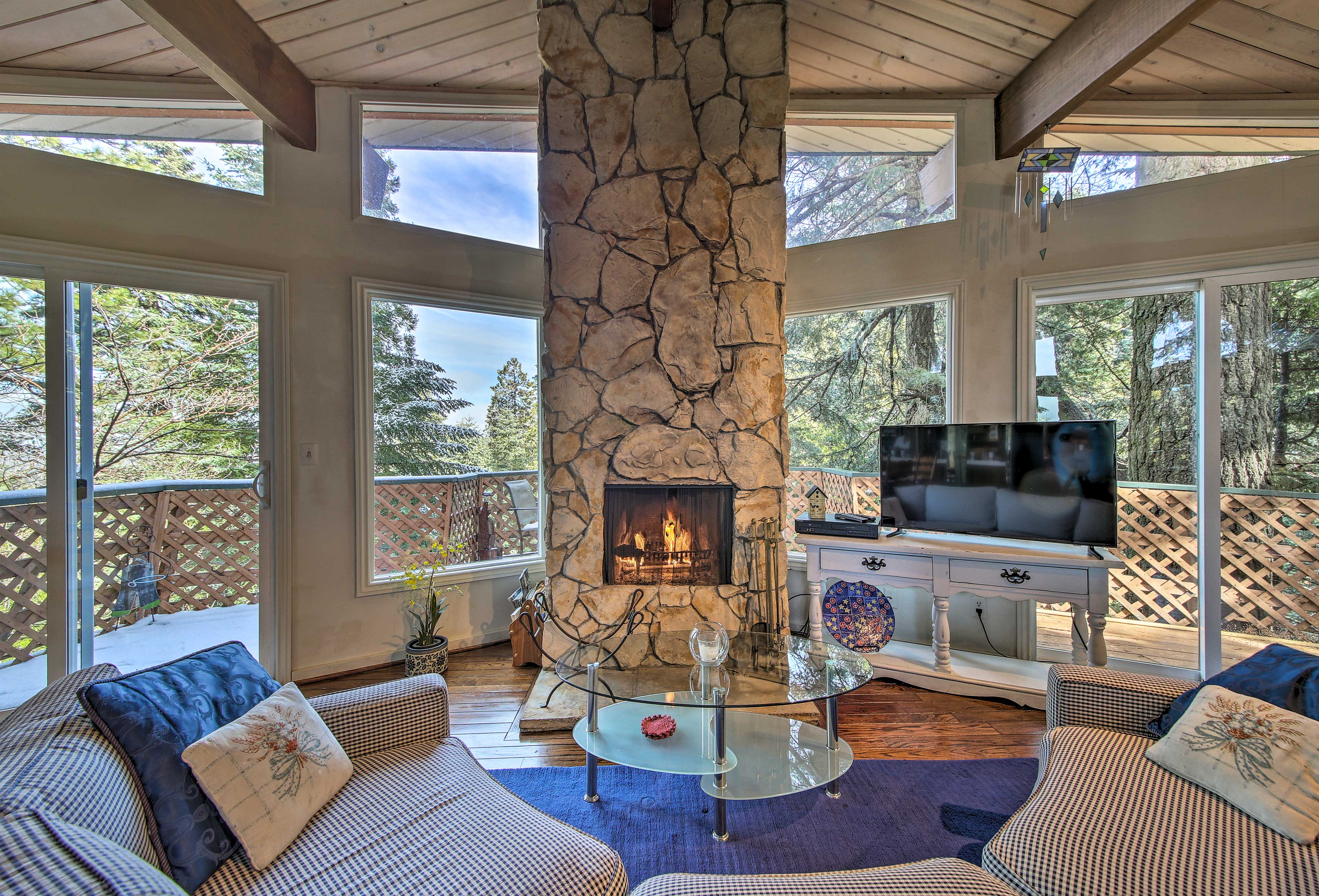 Escape to the mountains at this 4-bedroom, 3-bathroom Lake Arrowhead rental.
