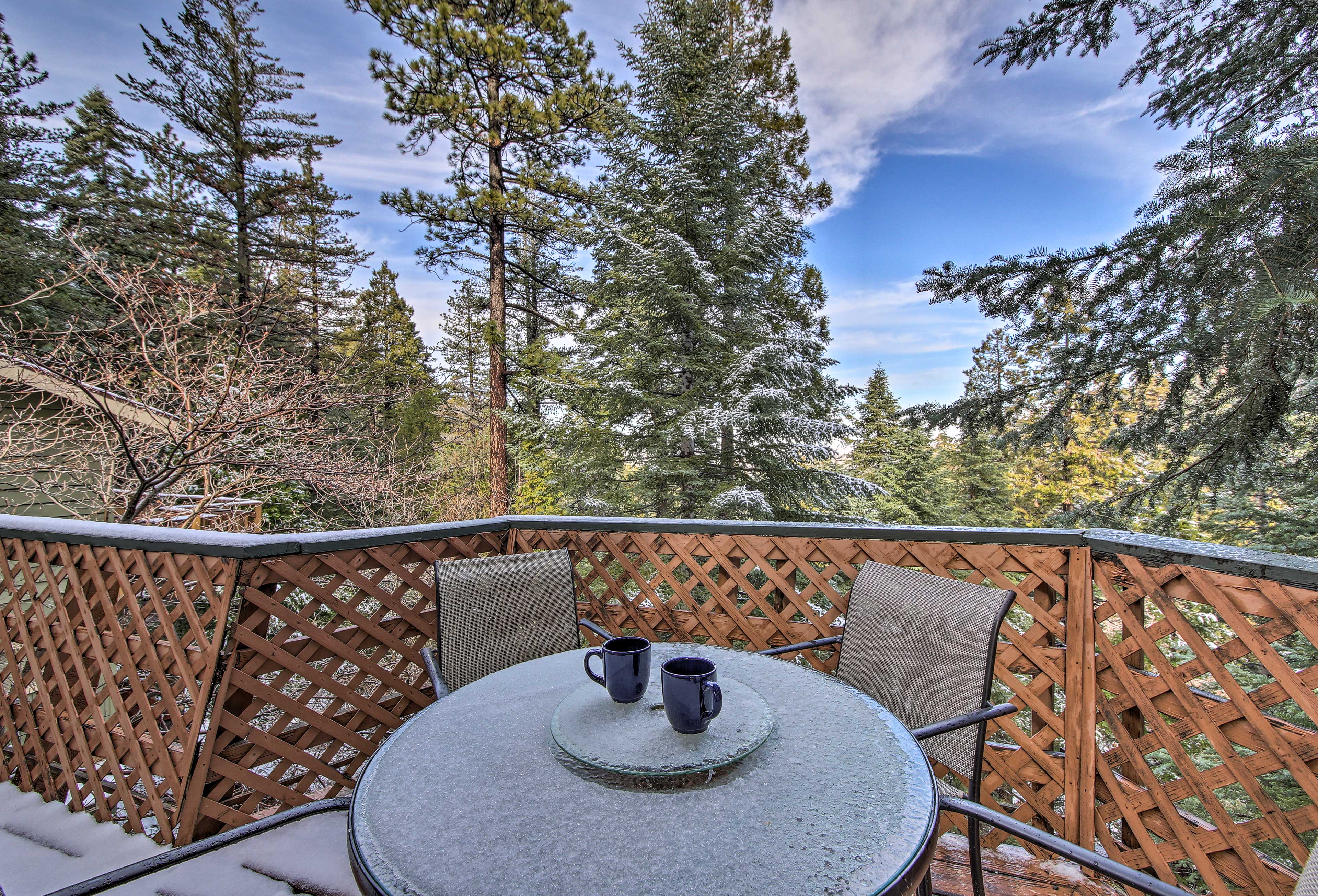 Enjoy coffee in the cool mountain air.