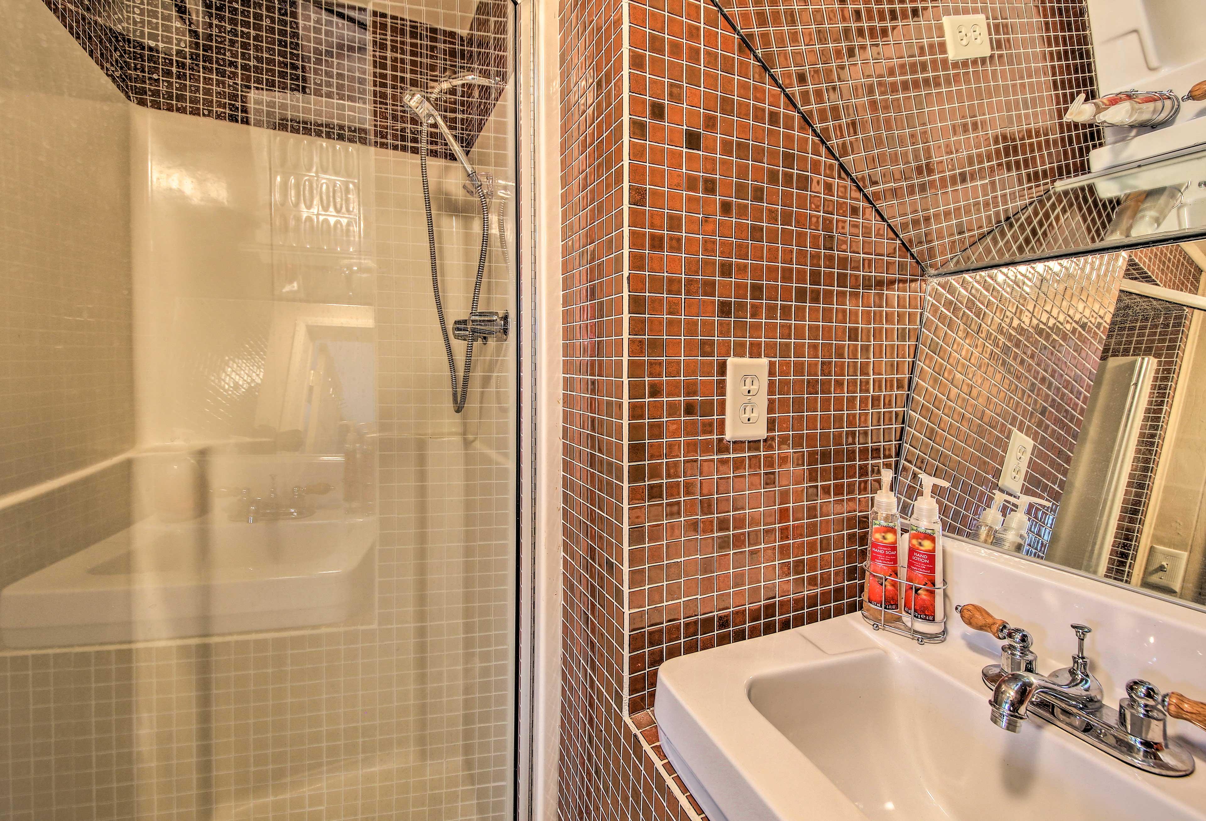 Freshen up in the walk-in shower.