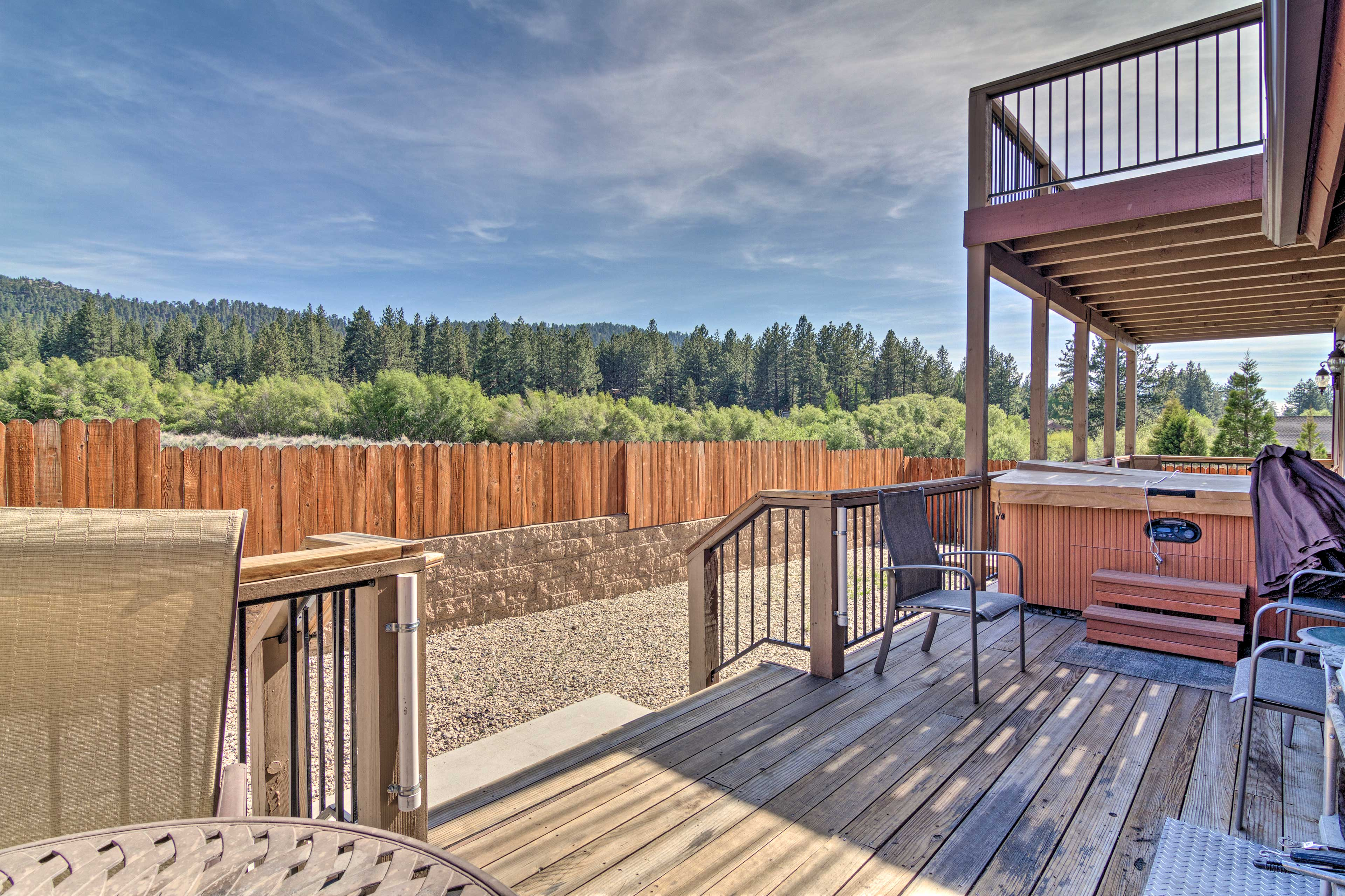 Look forward to soaking in the hot tub on the patio every day.