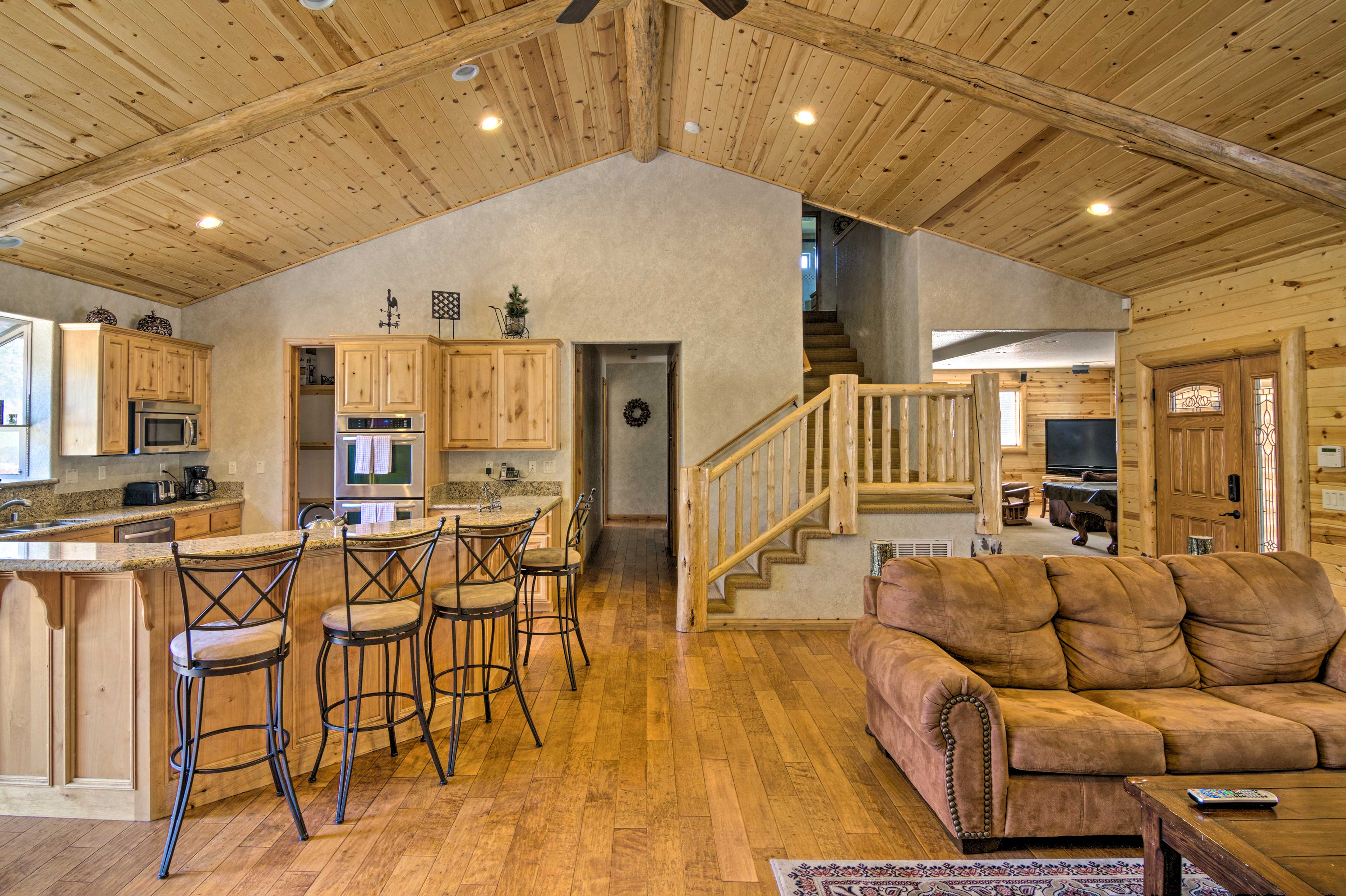 Relax in the cozy living room or hop on over to the kitchen for food.