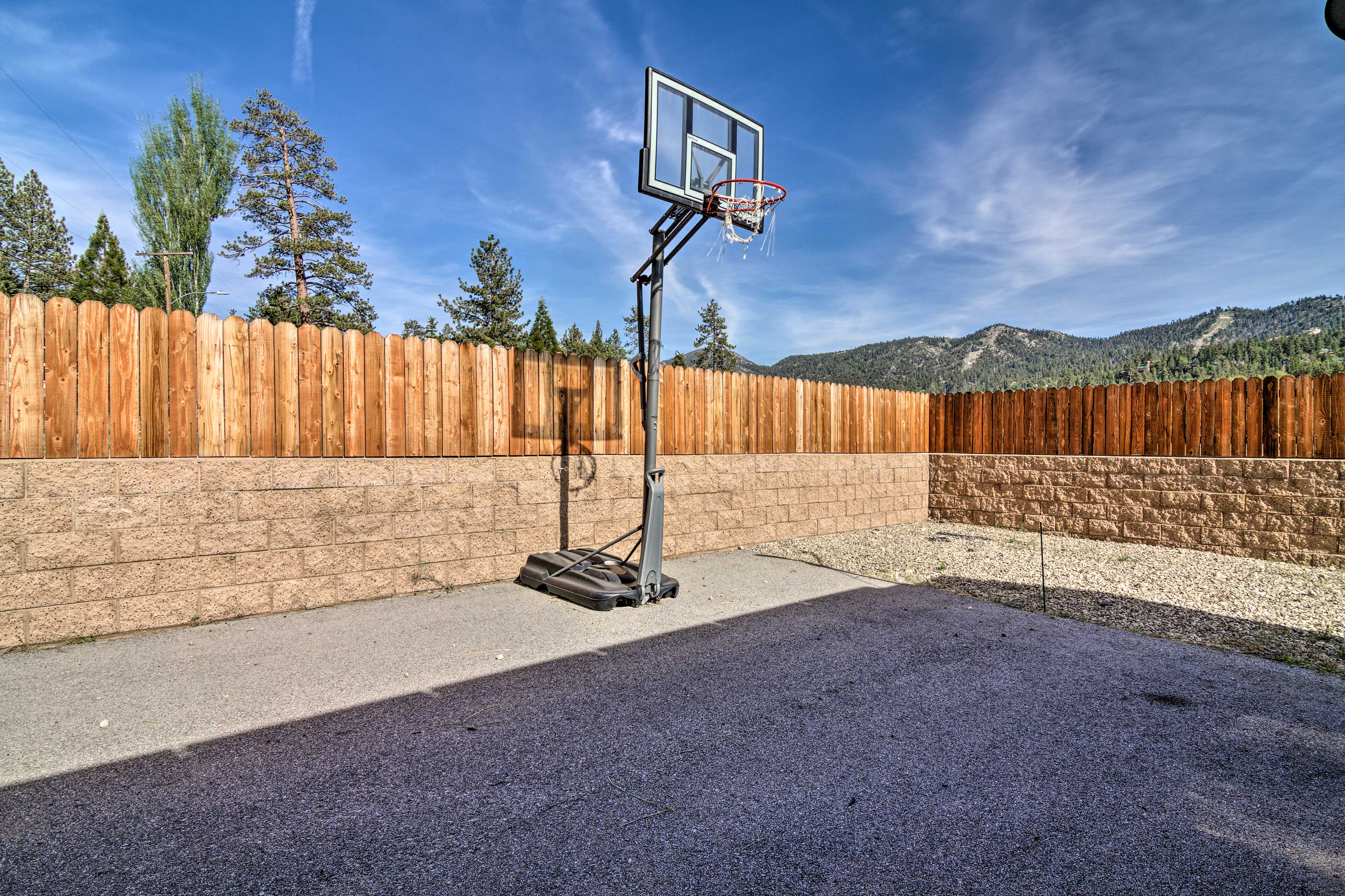 The kids will love shooting hoops in the driveway.