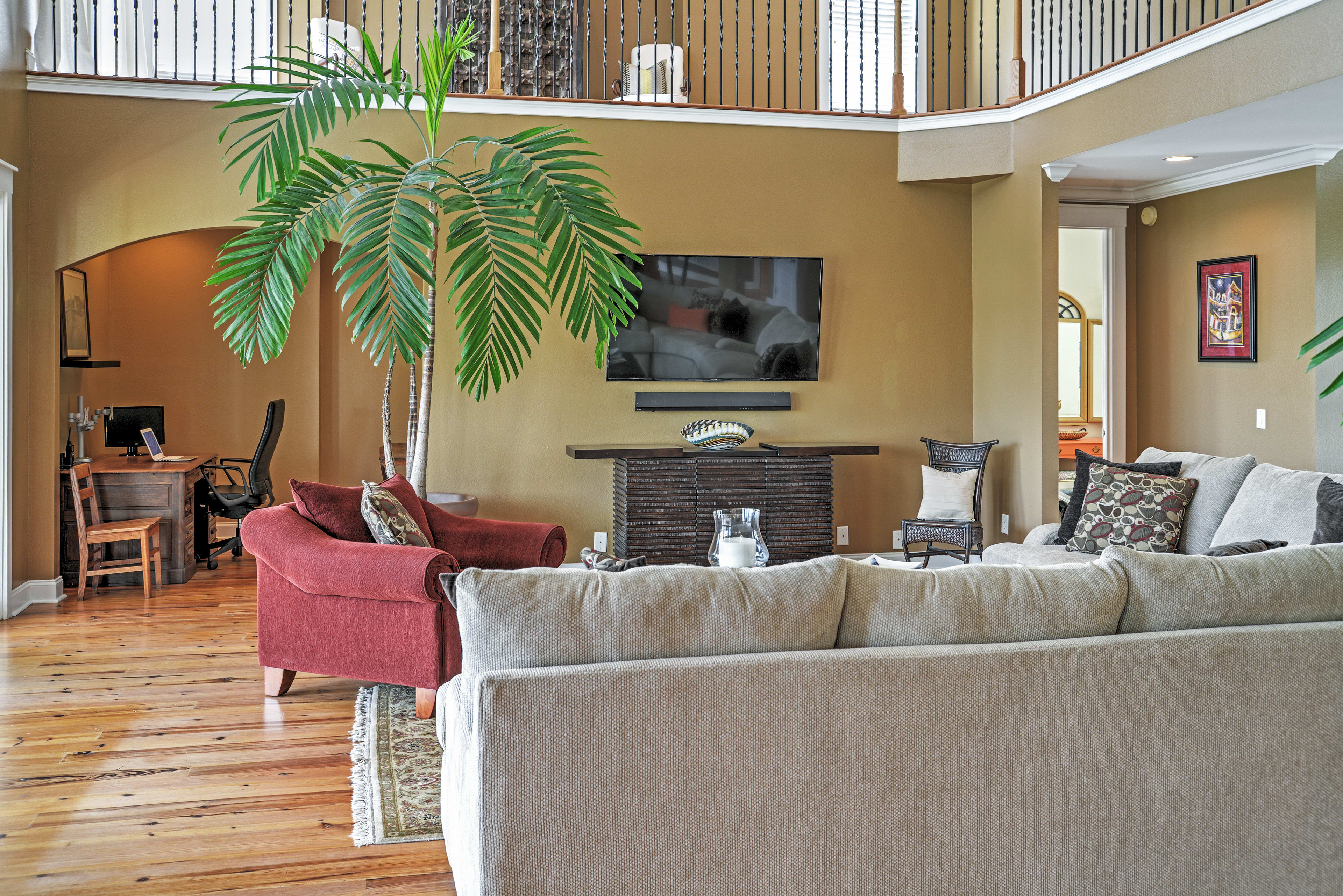 The home is furnished with extremely comfortable furniture.