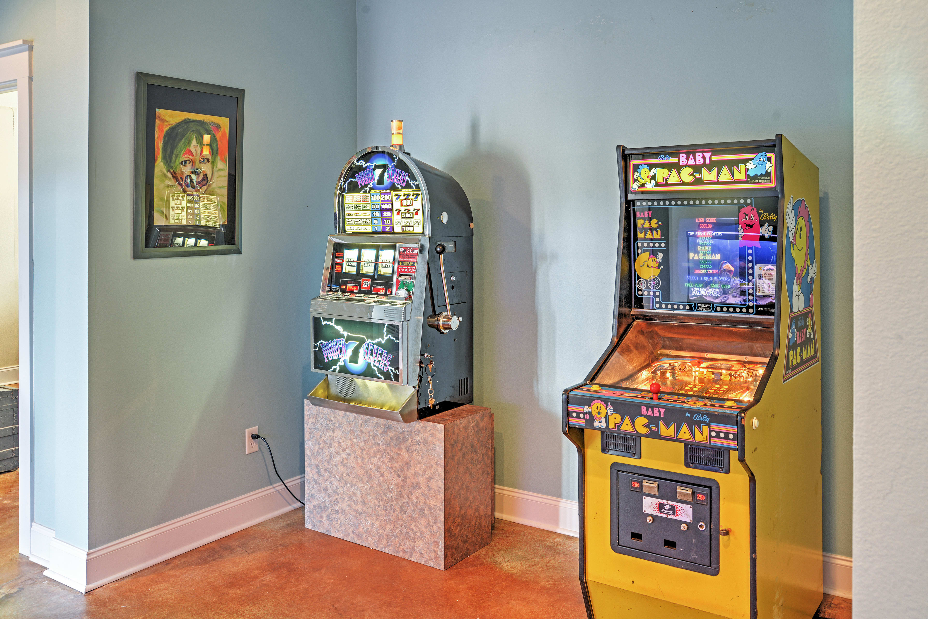 Play some games on the Baby Pac-Man or slots!
