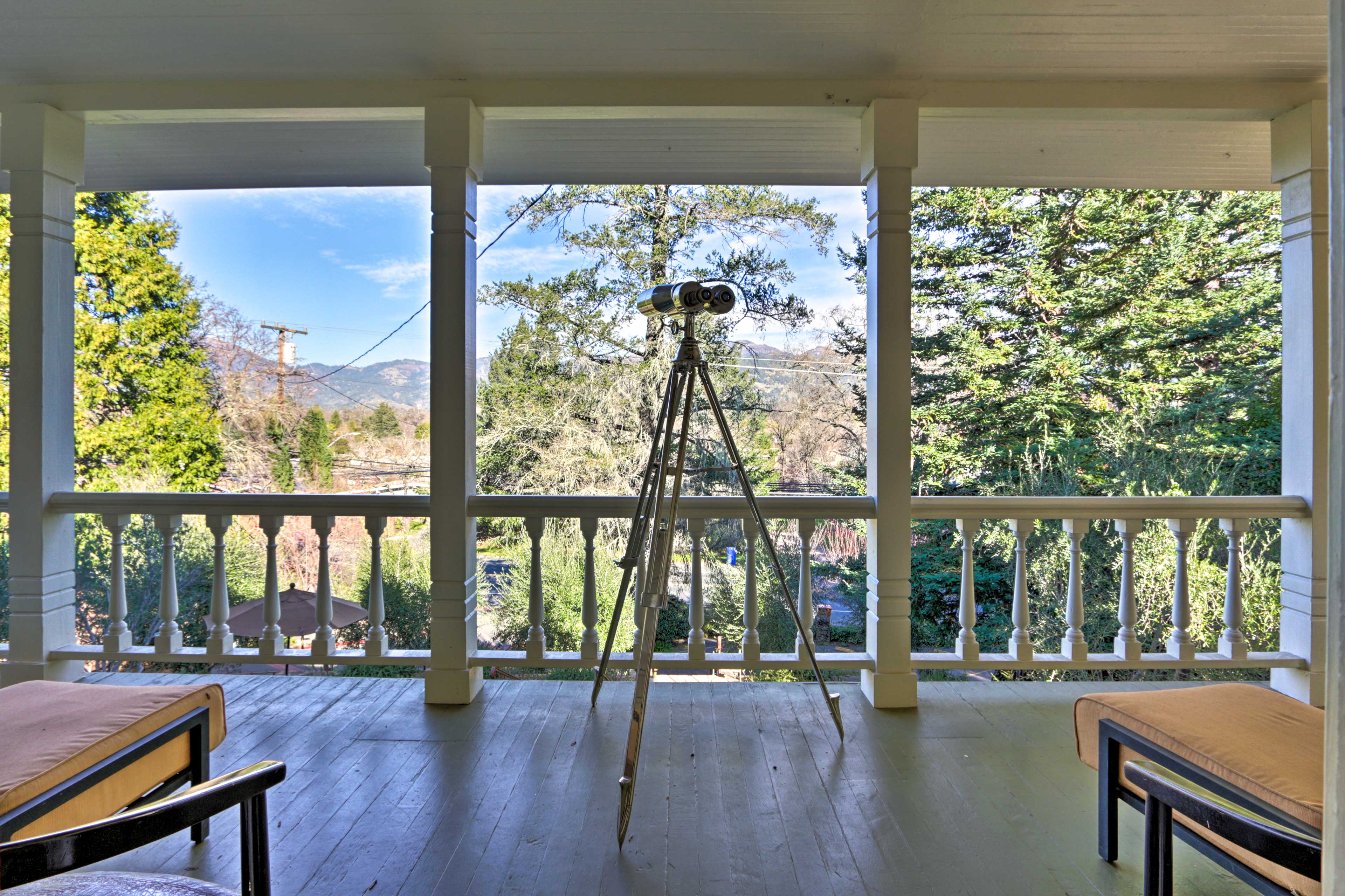 Take in marvelous views of the surrounding scenery from the deck.