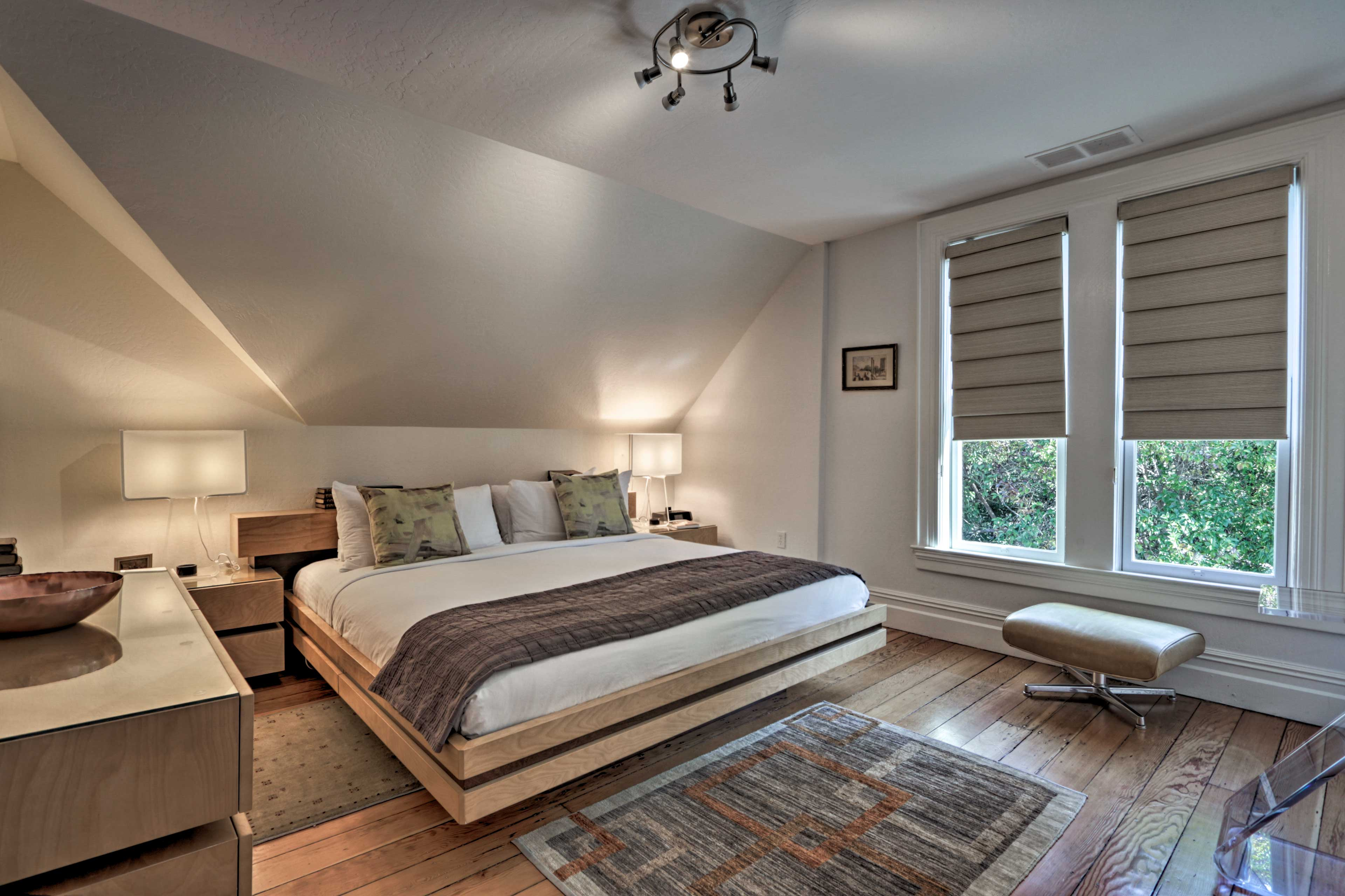 Each bedroom features hotel-like linens.