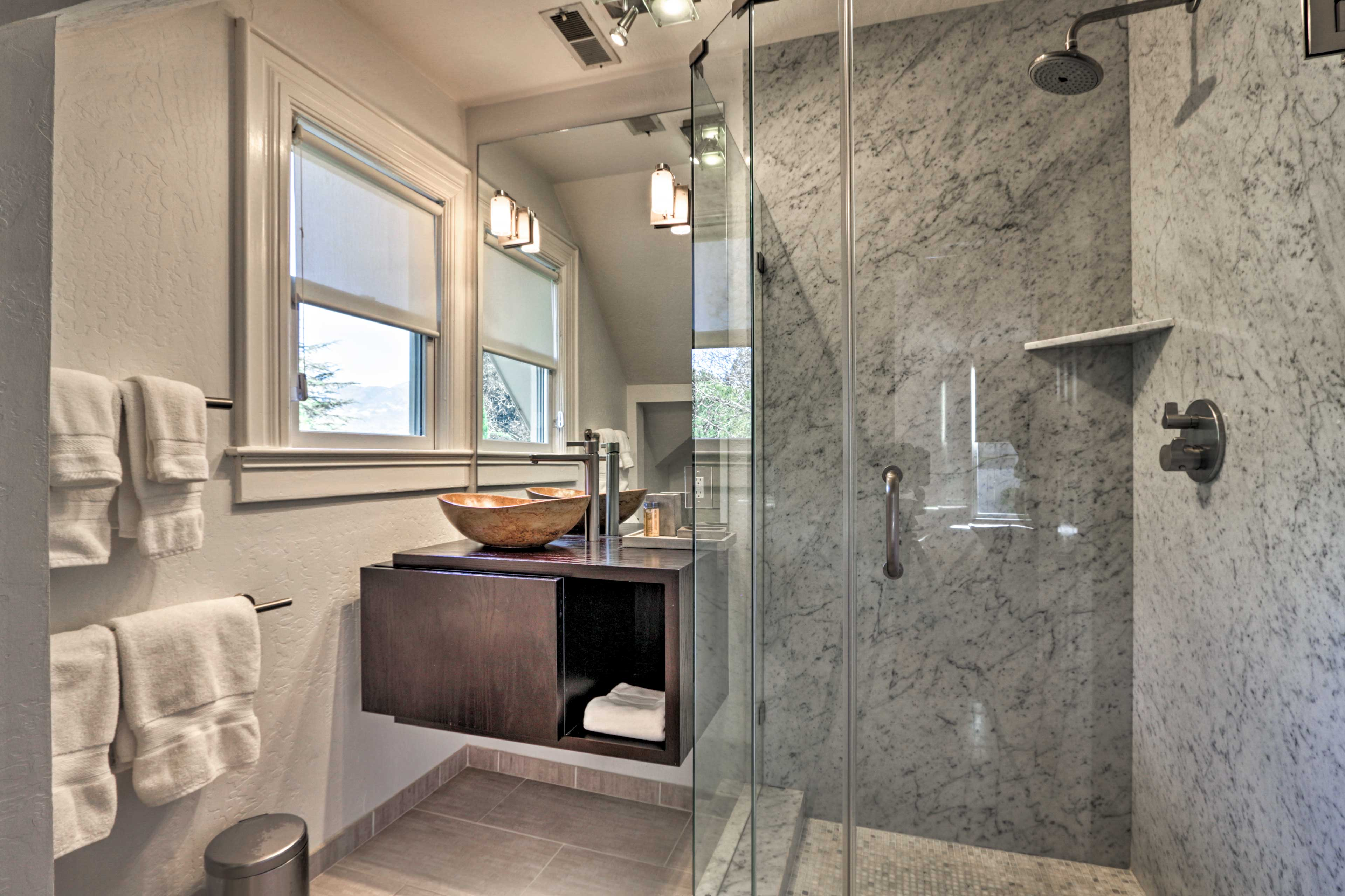Enjoy a warm shower and dry off with fresh towels.