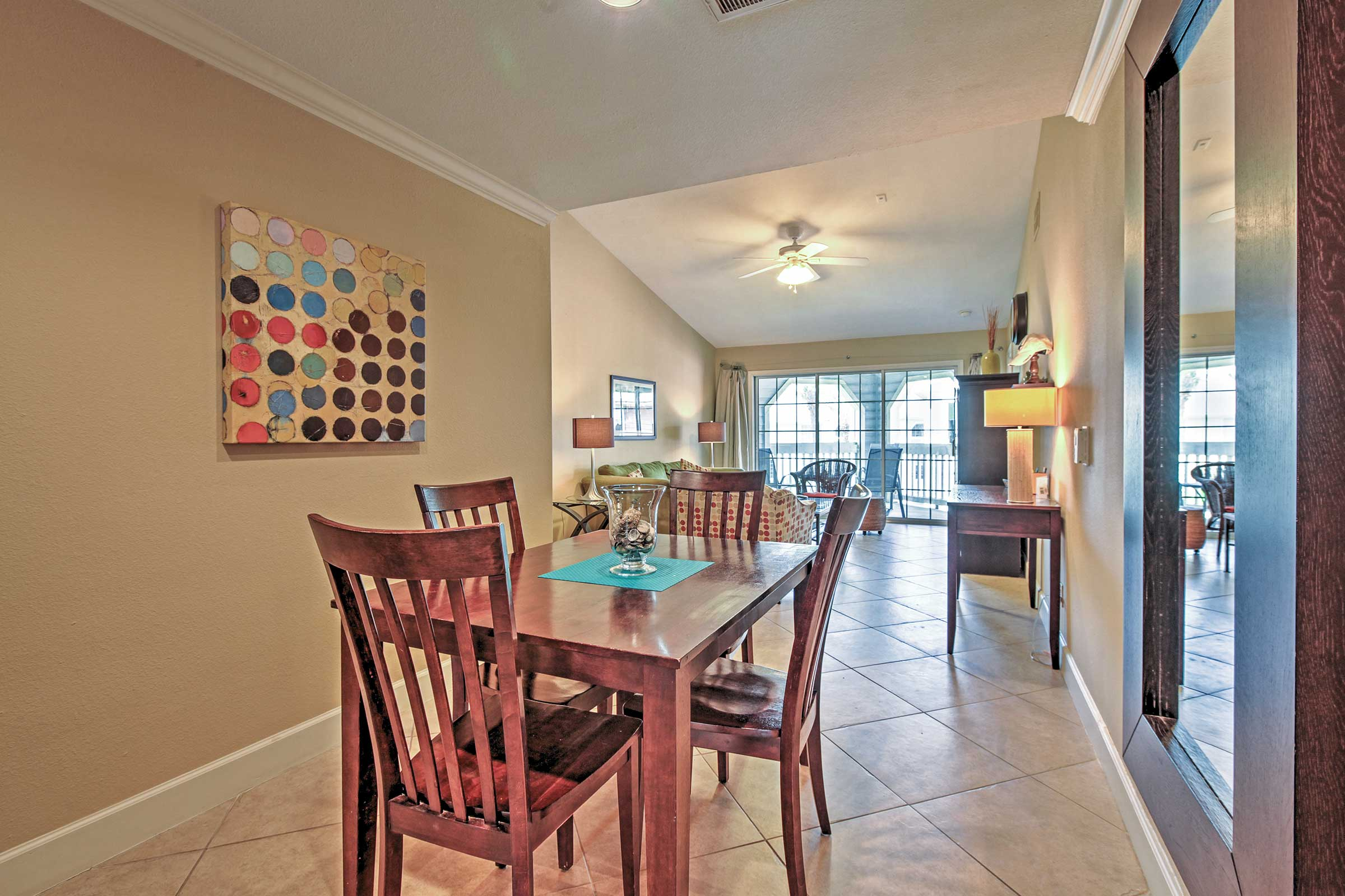 Gather with loved ones around the darling dining room table.