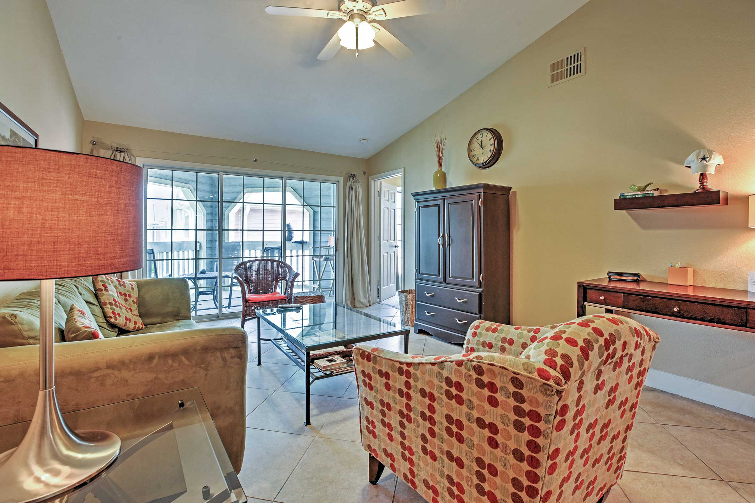 Unwind in the comfortable living area while watching your favorite television shows on the cable TV.