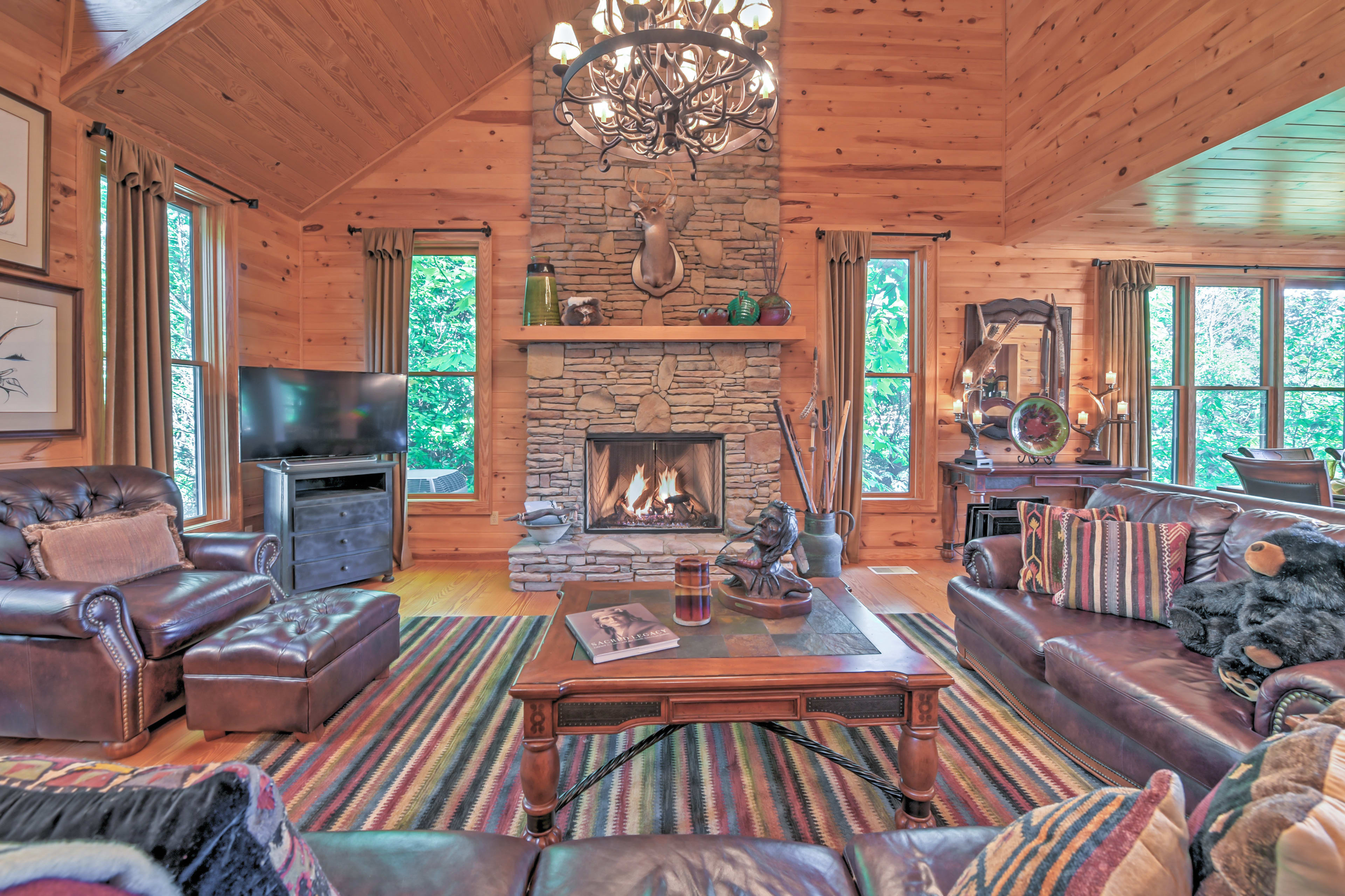 Warm your toes around the gorgeous fireplace.