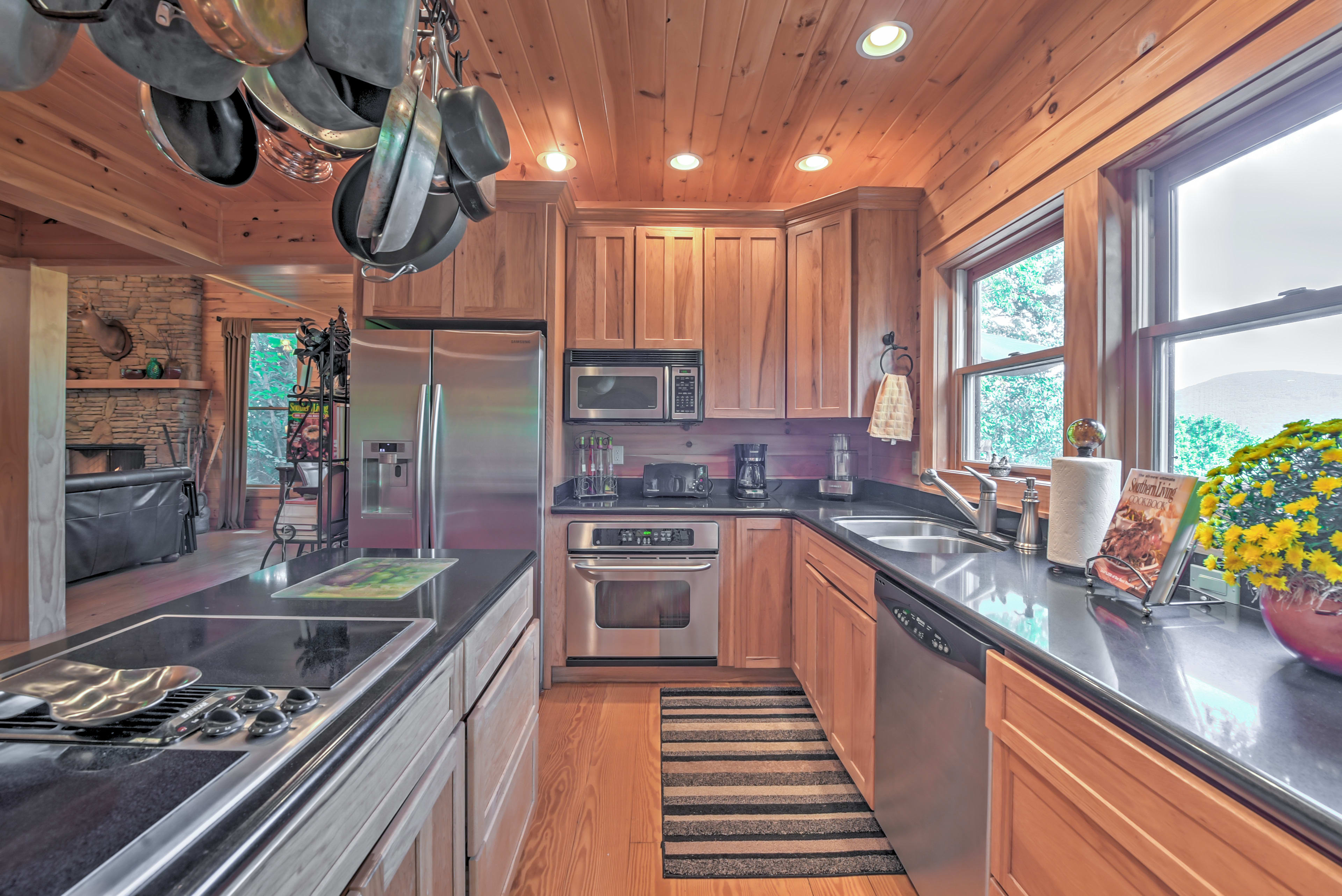 The chef will love the ample counter space and stainless steel appliances.