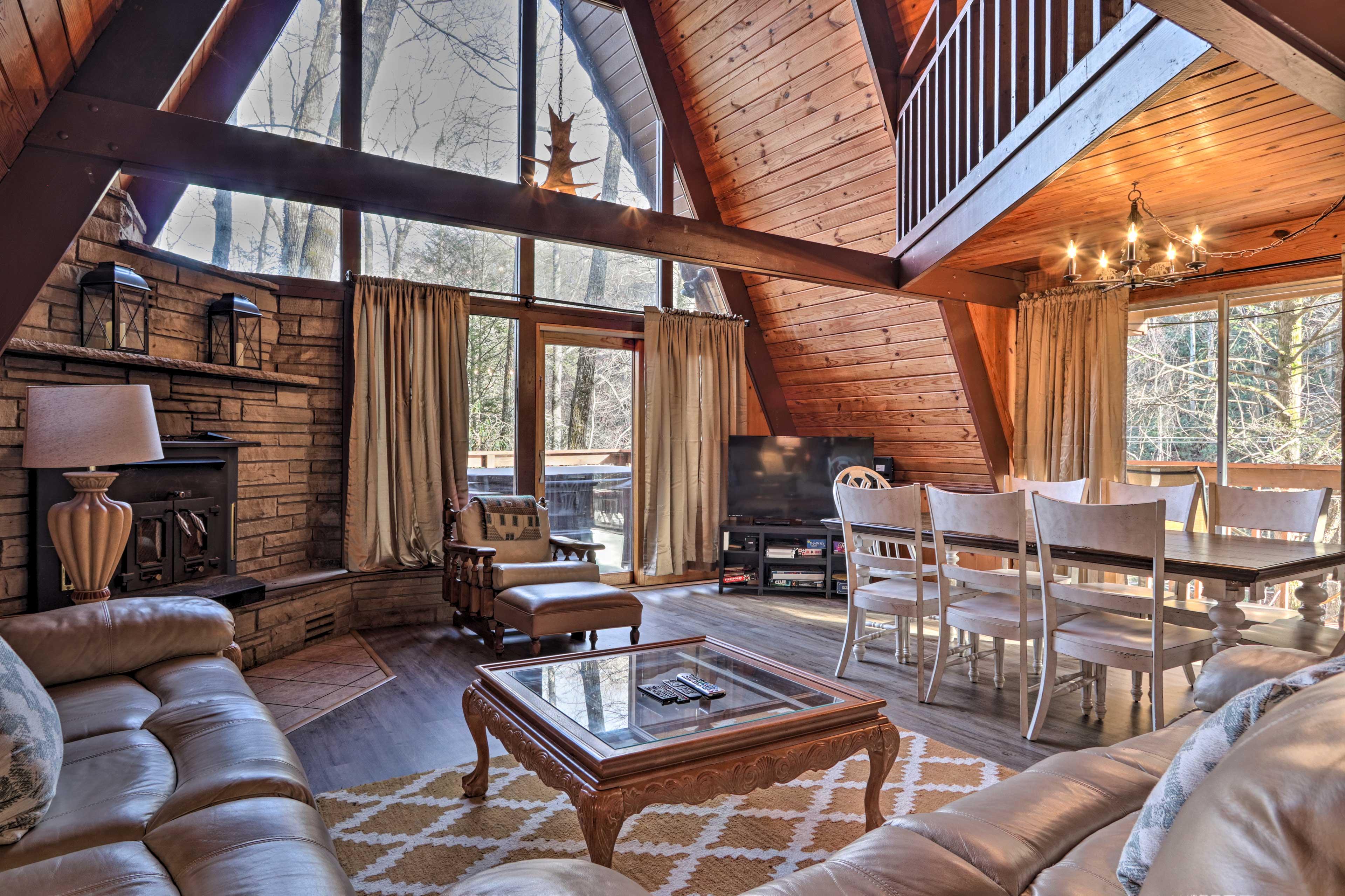 Living Room | Wood-Burning Fireplace