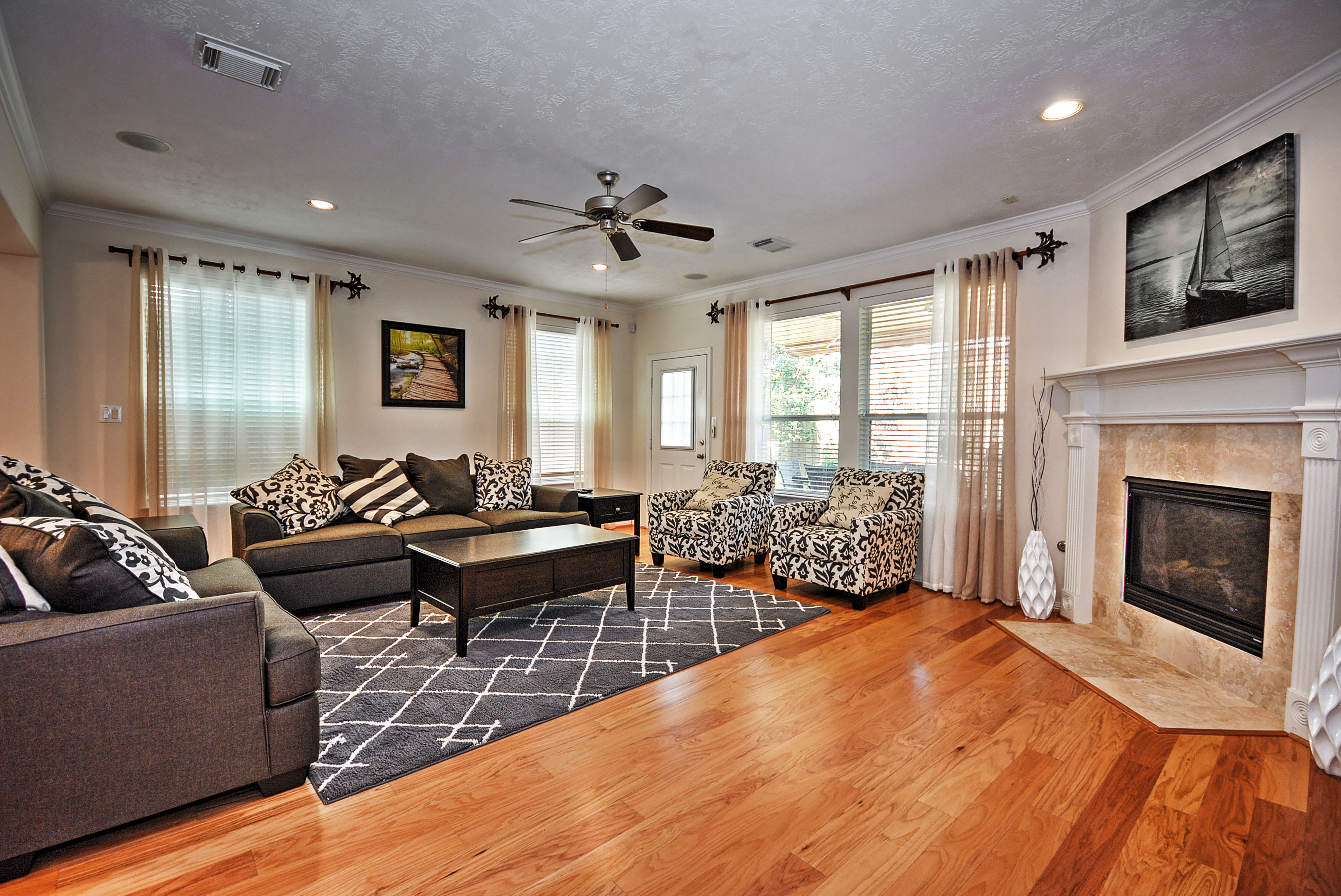 Relax in the living room and enjoy the modern amenities.