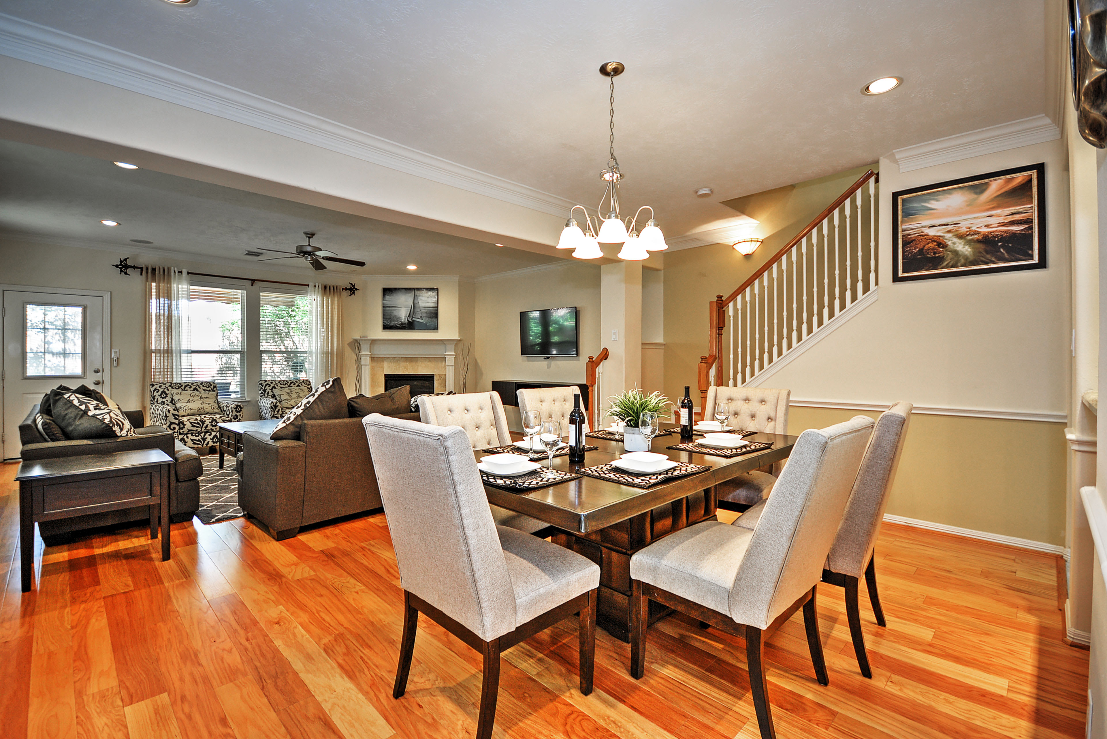 The dining area is located just off of the living room.
