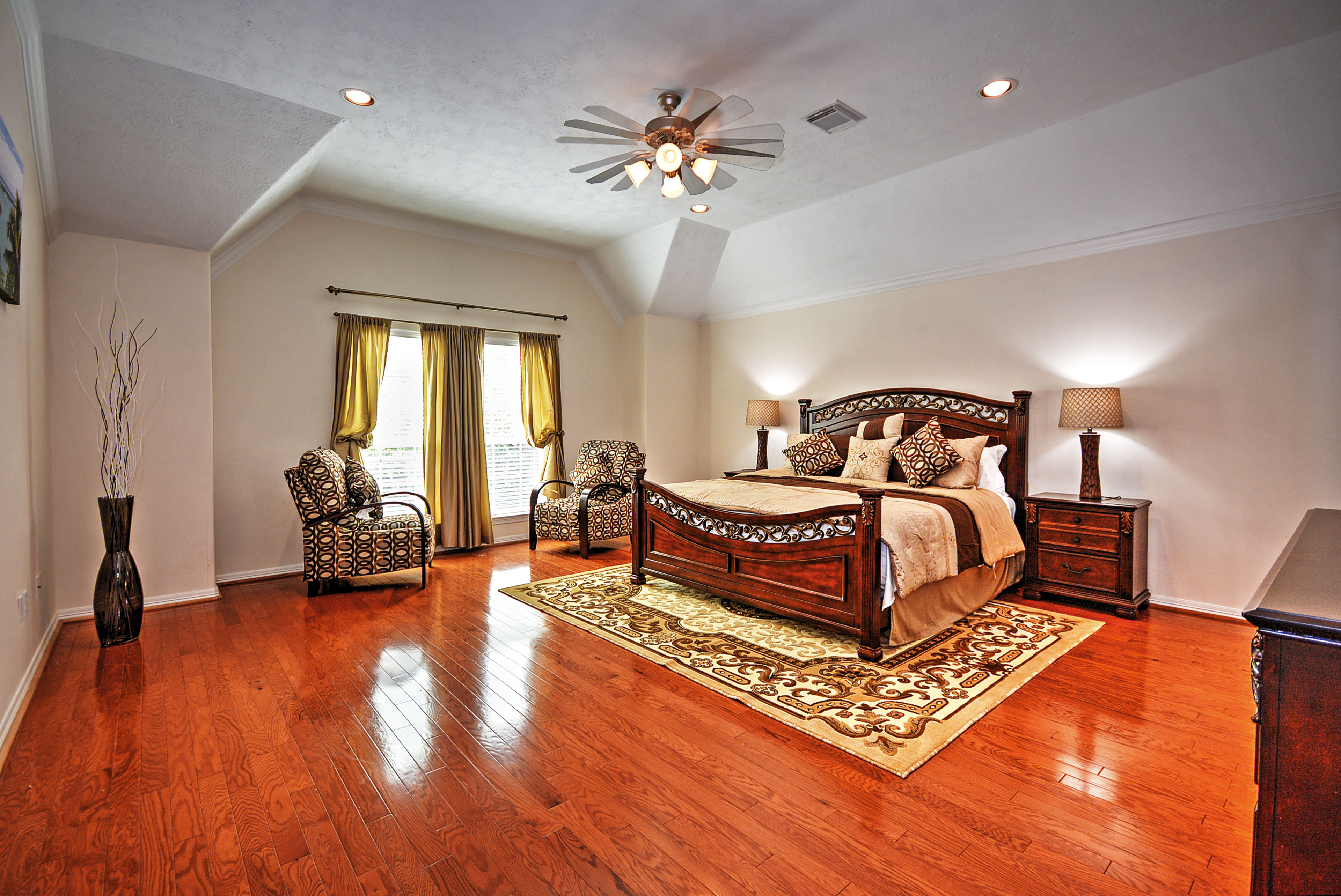 After an eventful day, look forward to retreating to the master bedroom.