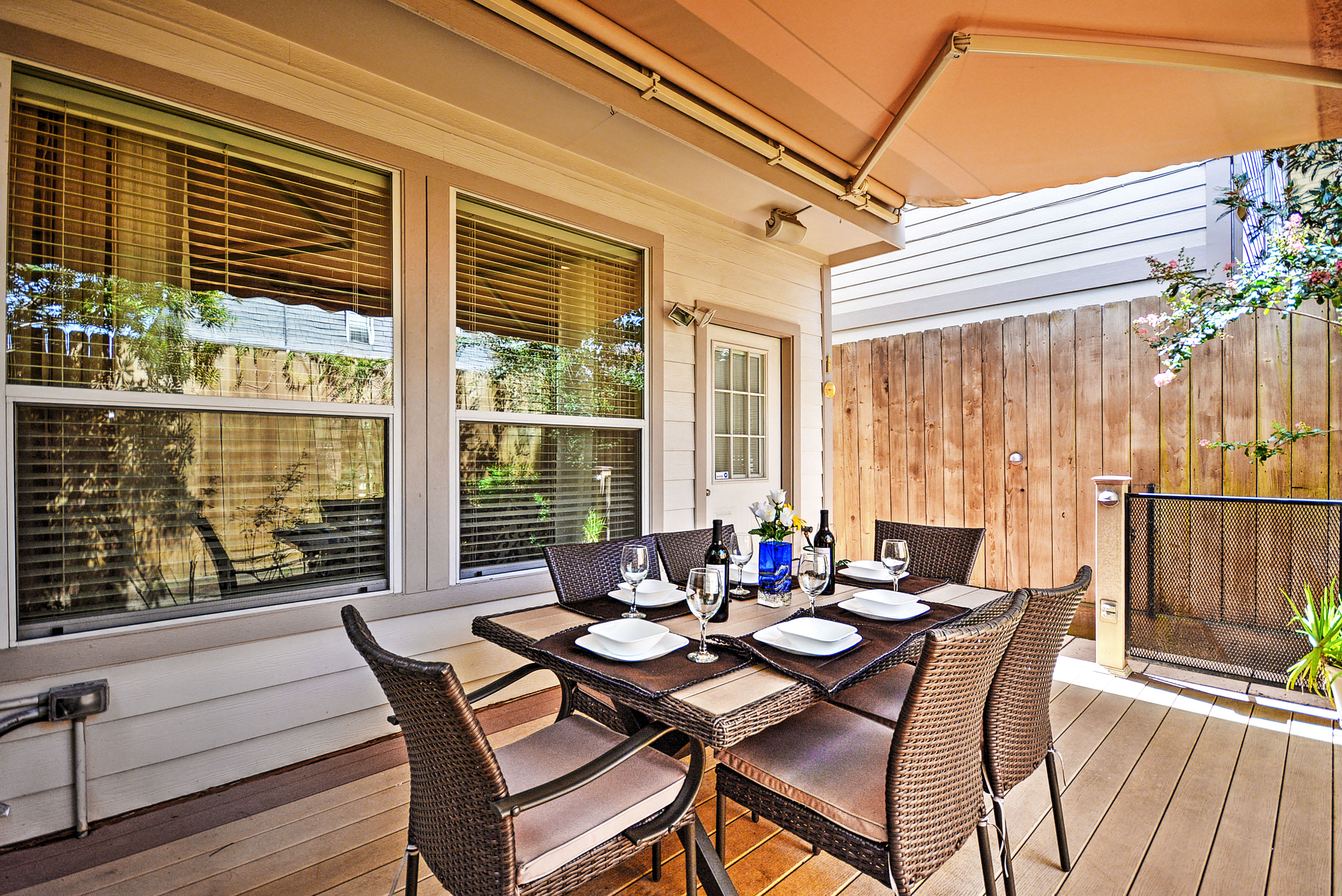 The covered patio offers a great place to enjoy home-cooked meals.