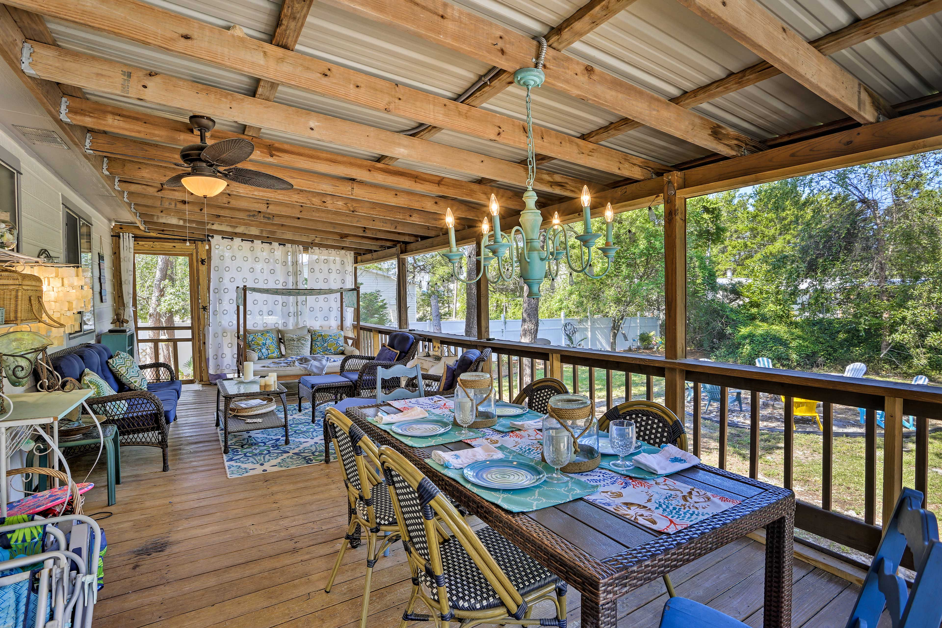 It'll be hard to leave this elegant outdoor living space!