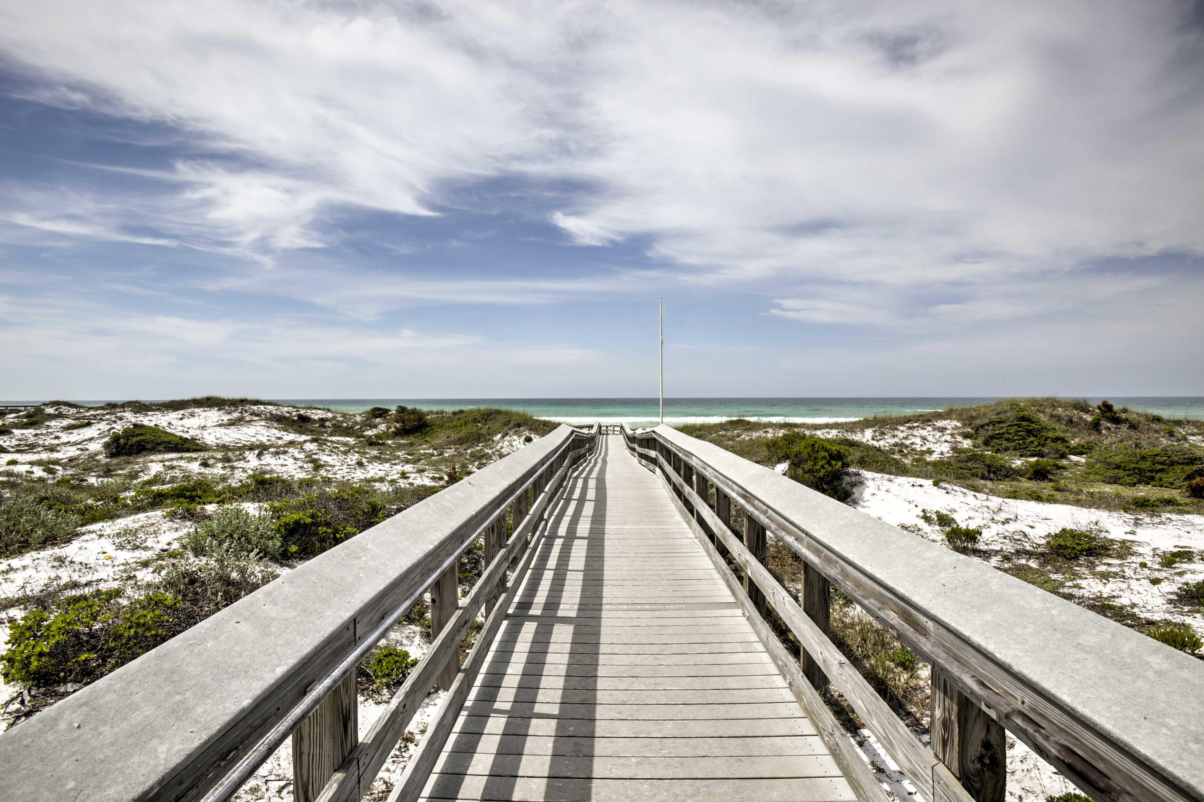 The beach is a short walk away!