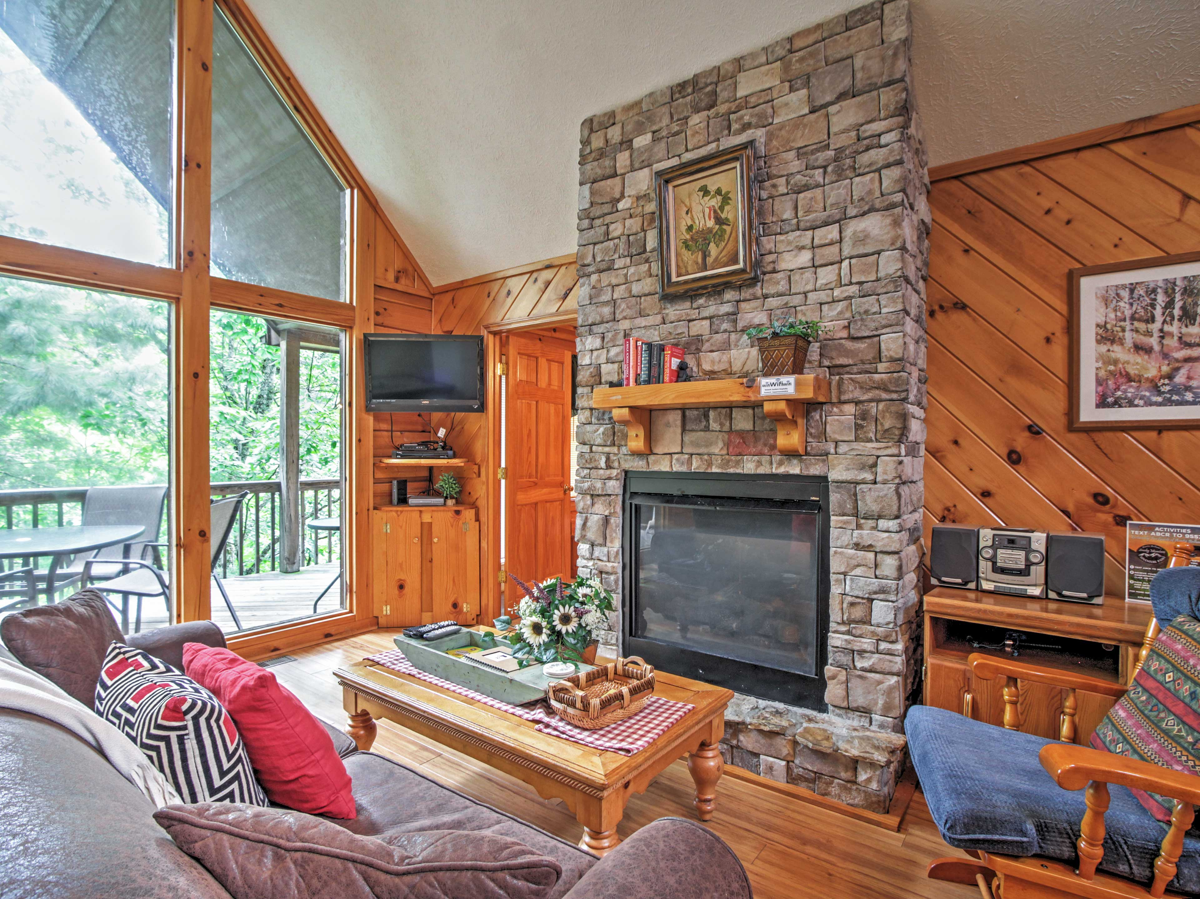 This 2-bedroom, 2-bath home sleeps up to 6 guests in a classic cabin feel.
