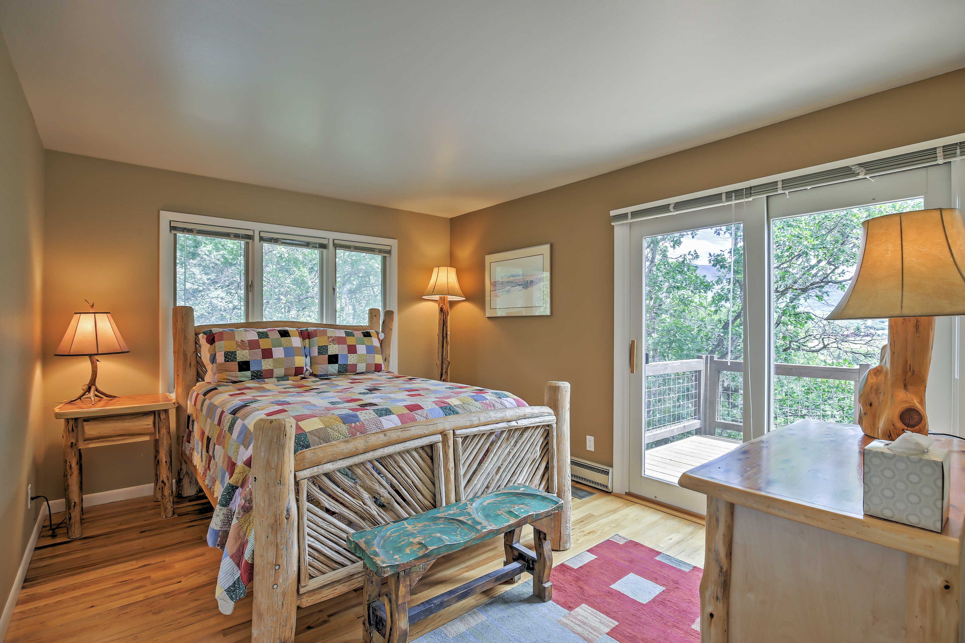 The second bedroom features a full-sized bed.