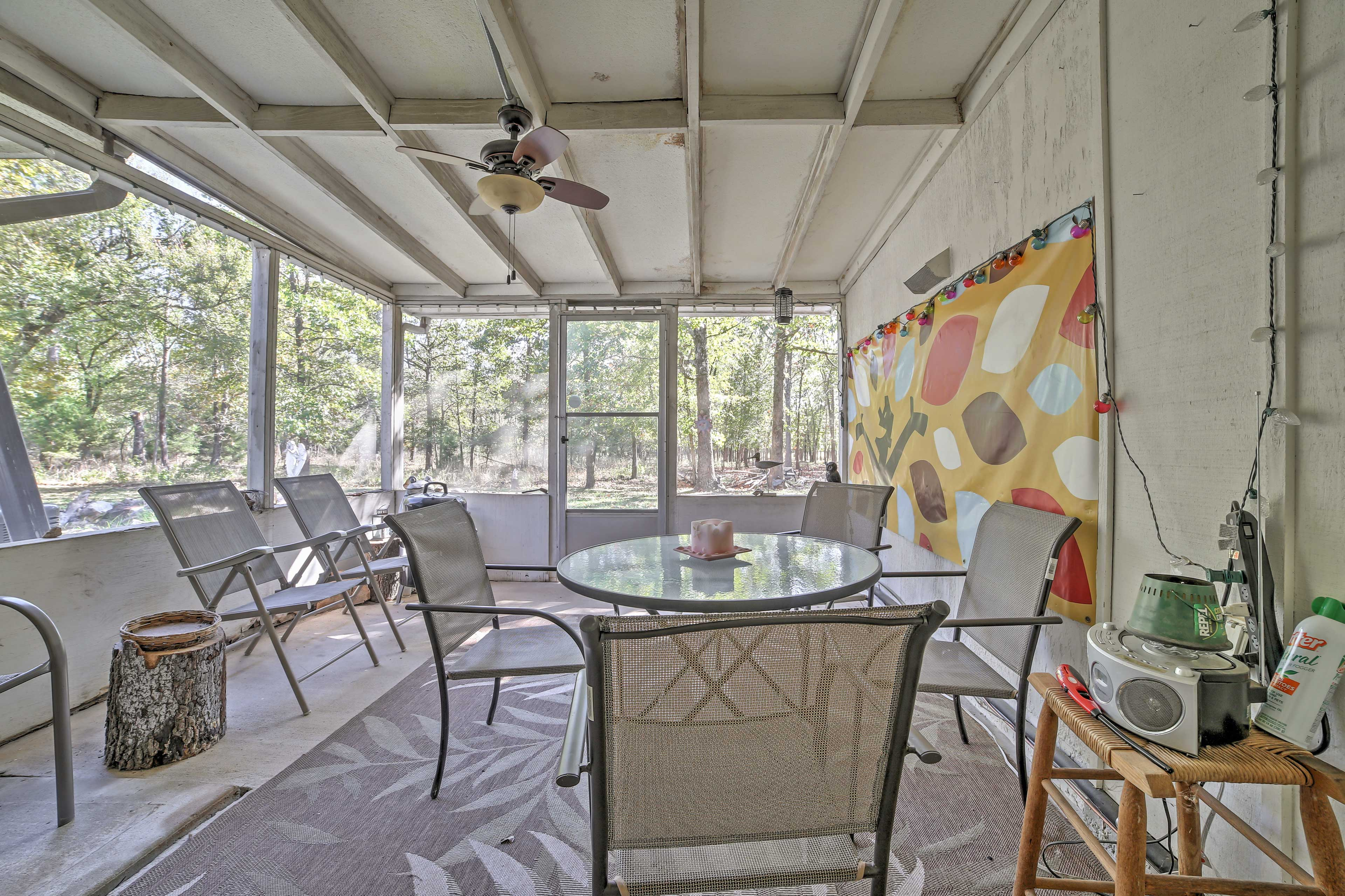 Gather together with your groups around the screened-in porch.