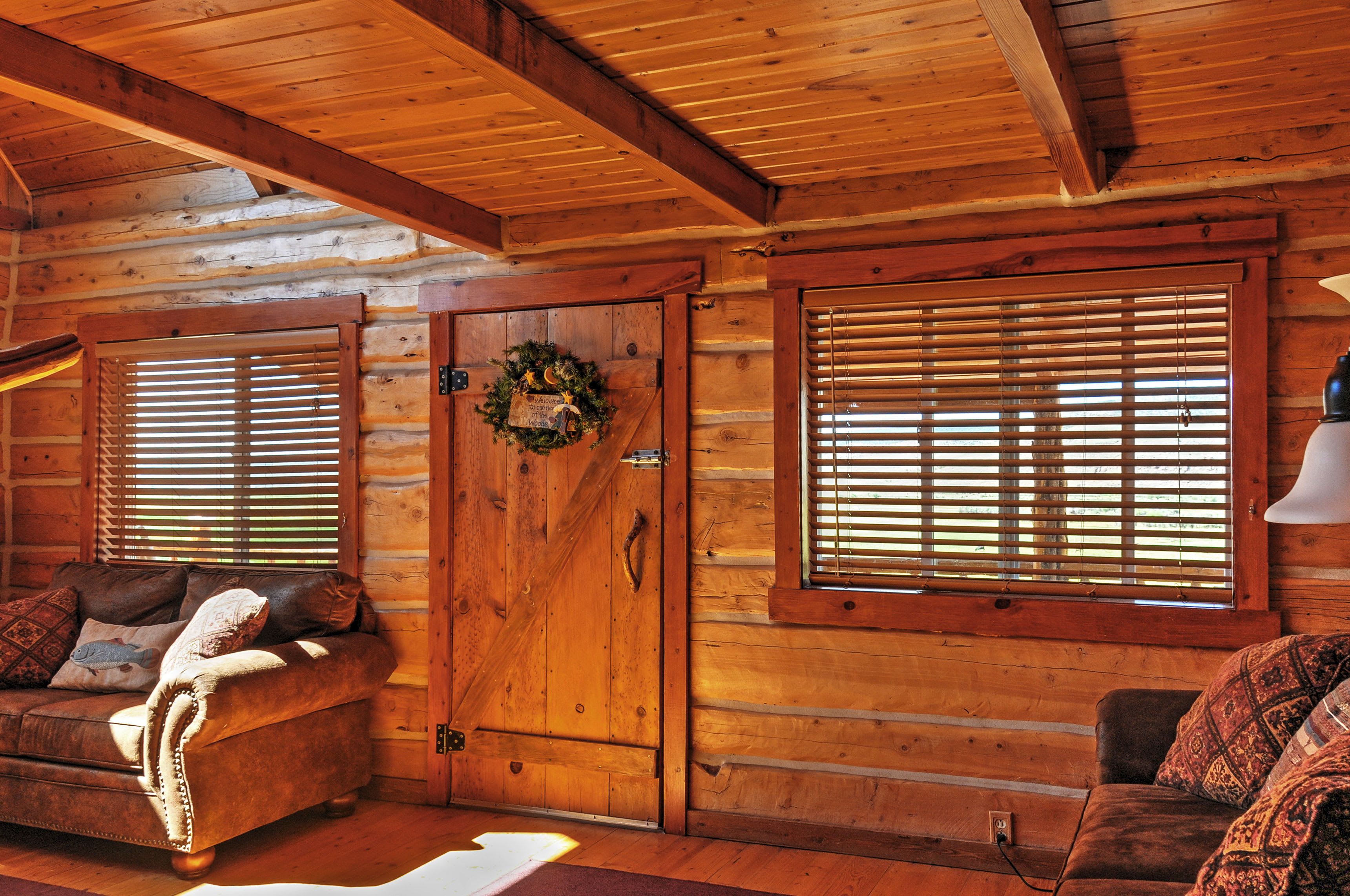The interior exudes a classic cabin feel!