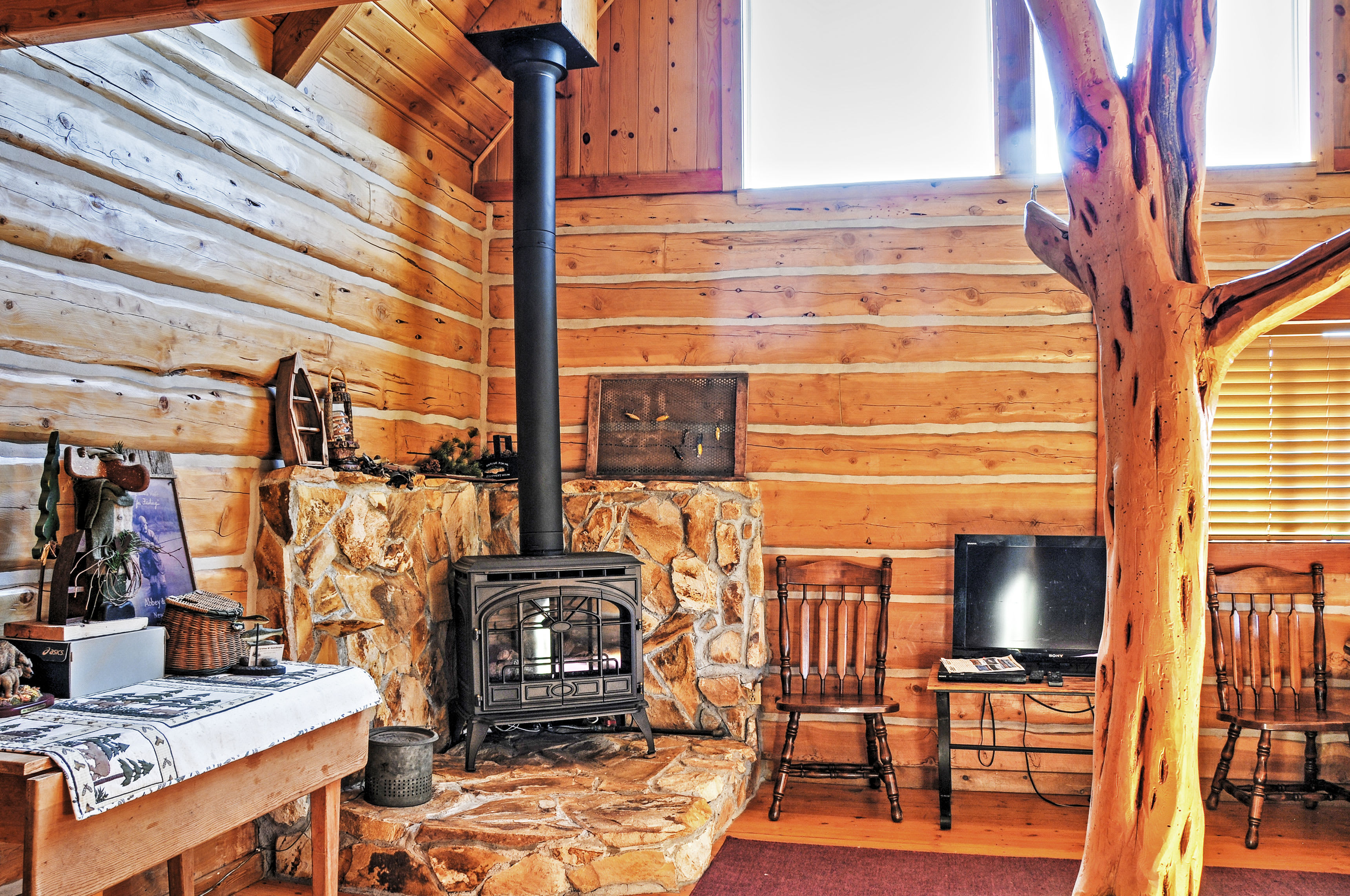 Warm your toes in front of the wood-burning stove.