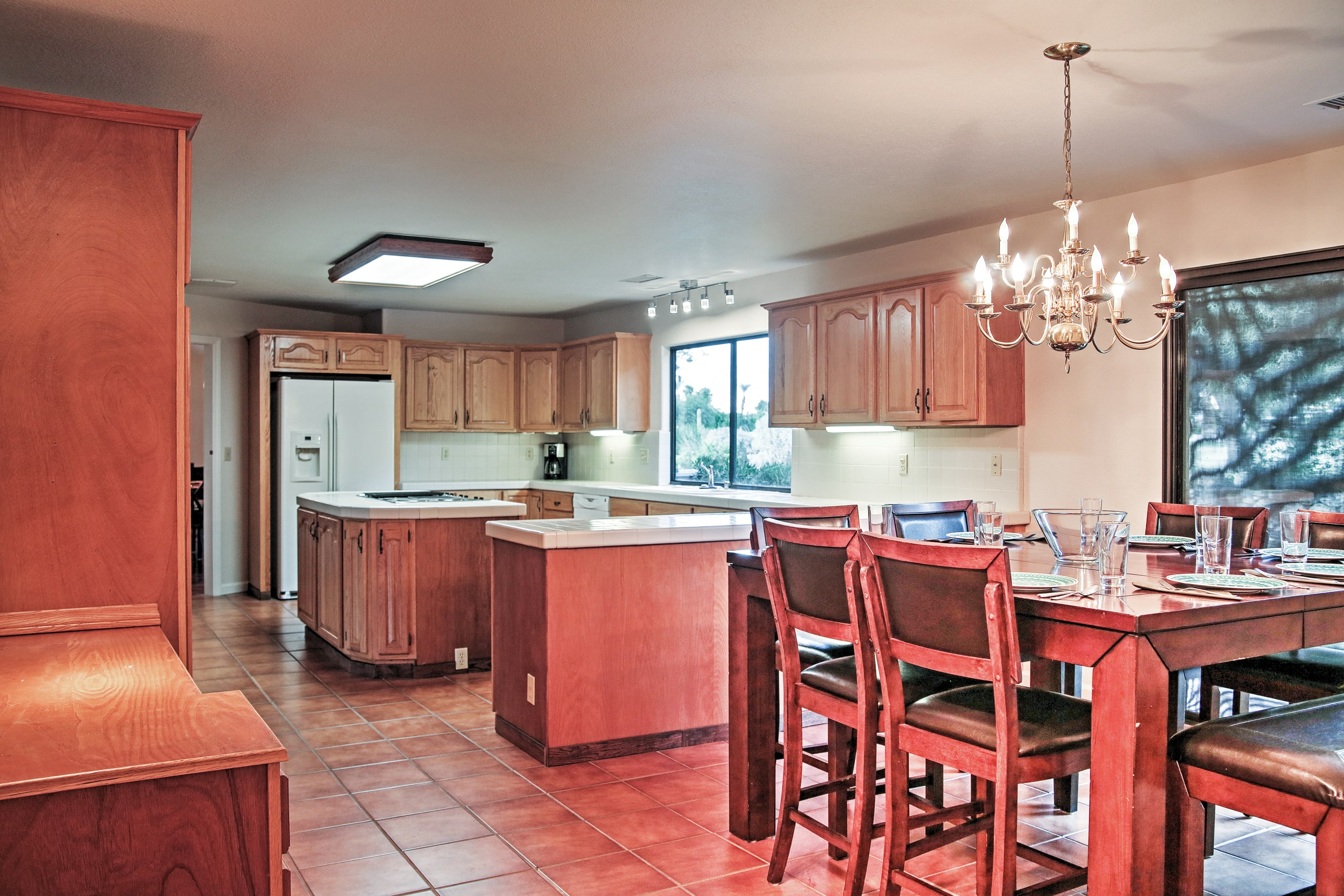 The dining area flows right into the kitchen.