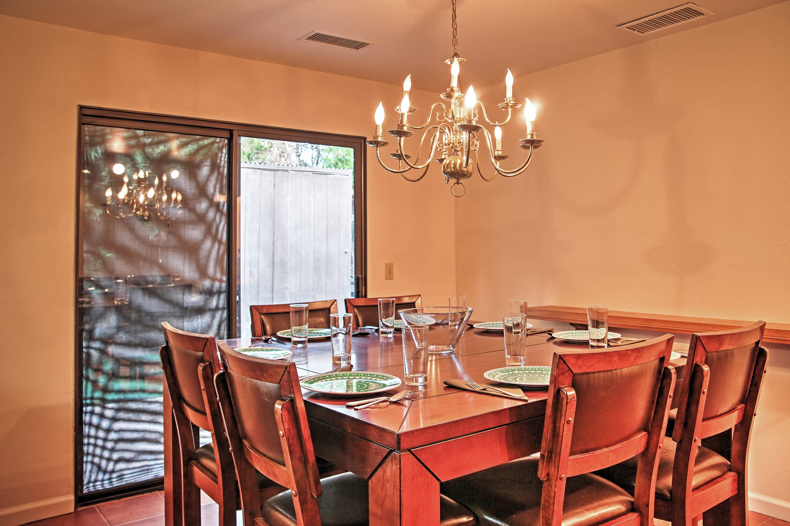 Enjoy your meals at the elegant dining table.
