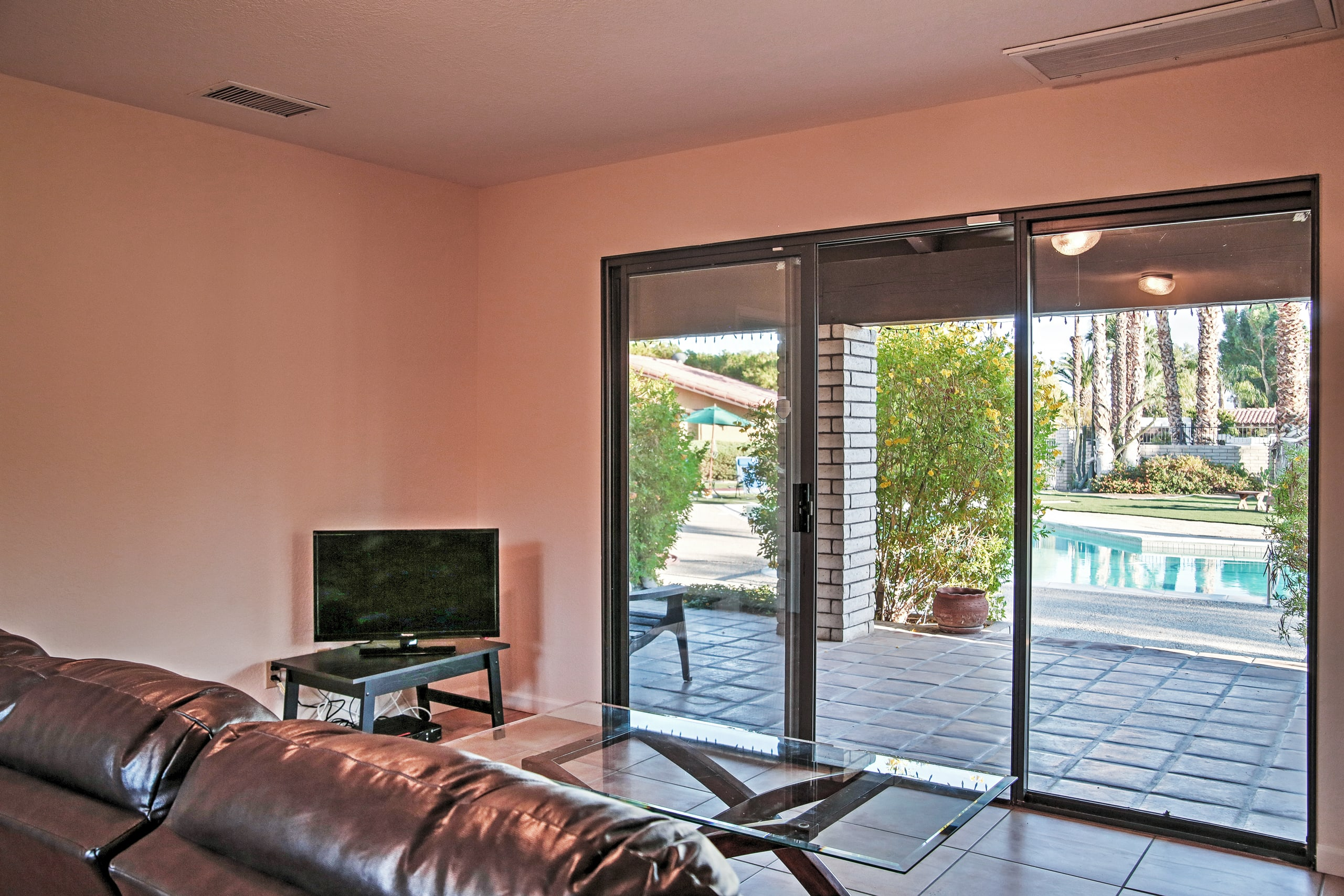 Step right through the sliding doors to get fresh air outside.