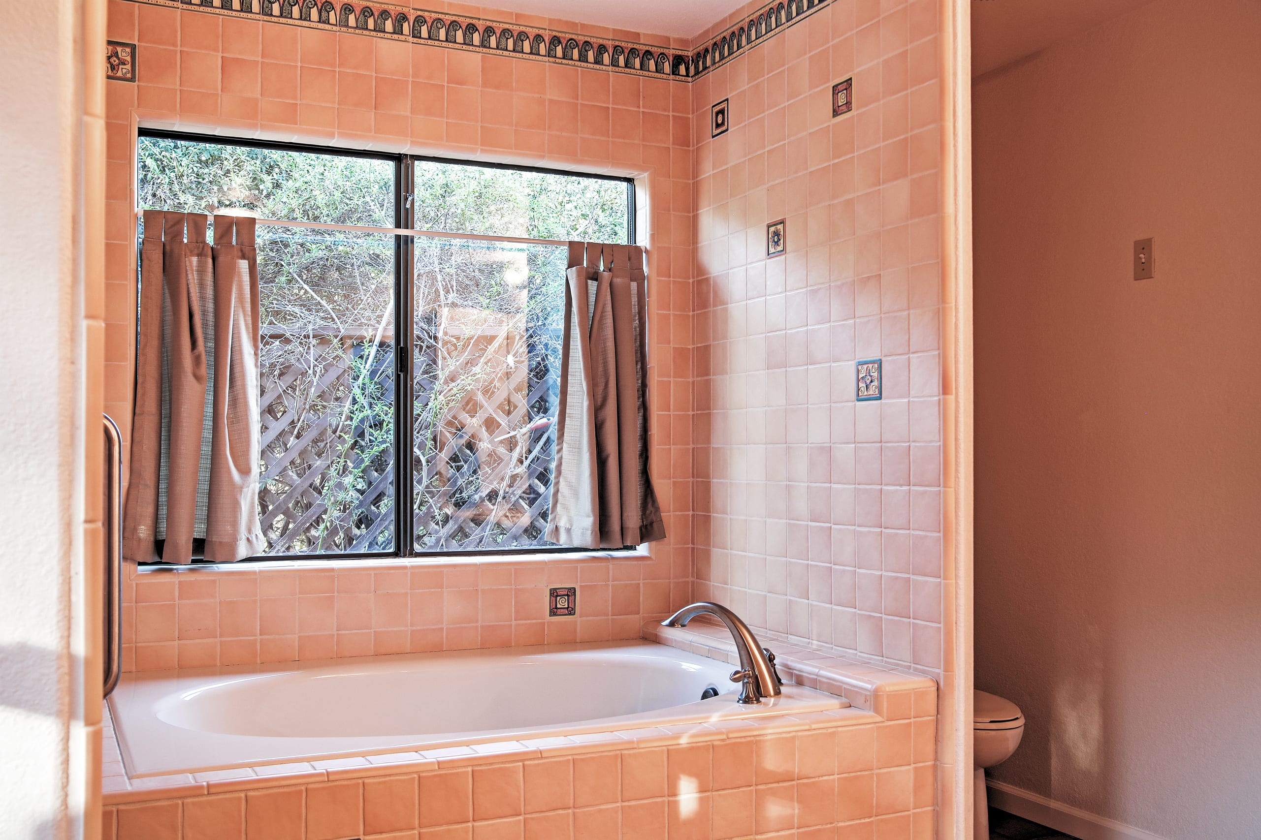 Take your time cleaning up while relaxing in the nice bath tub.