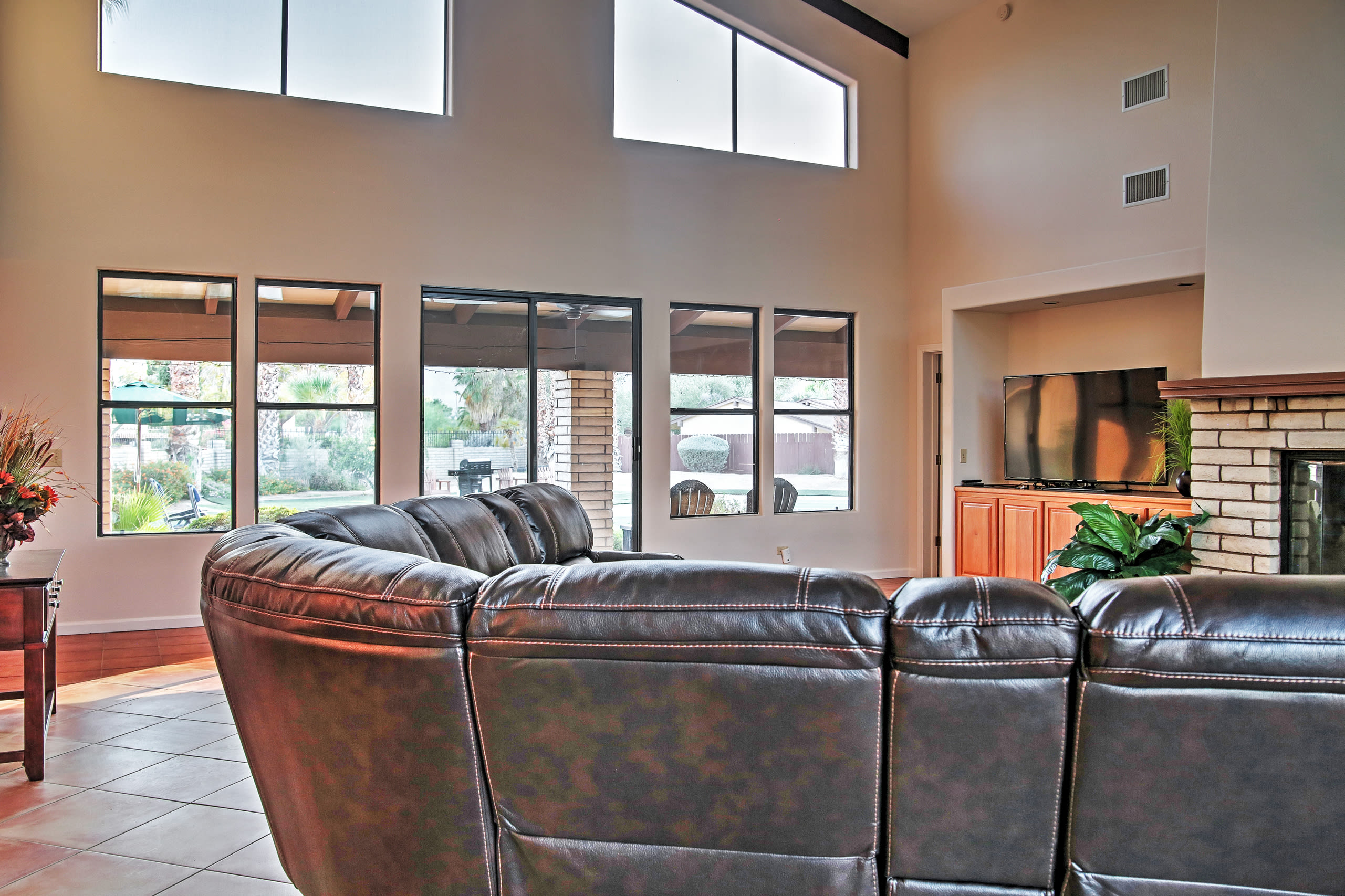With soaring ceilings, this home feels spacious.