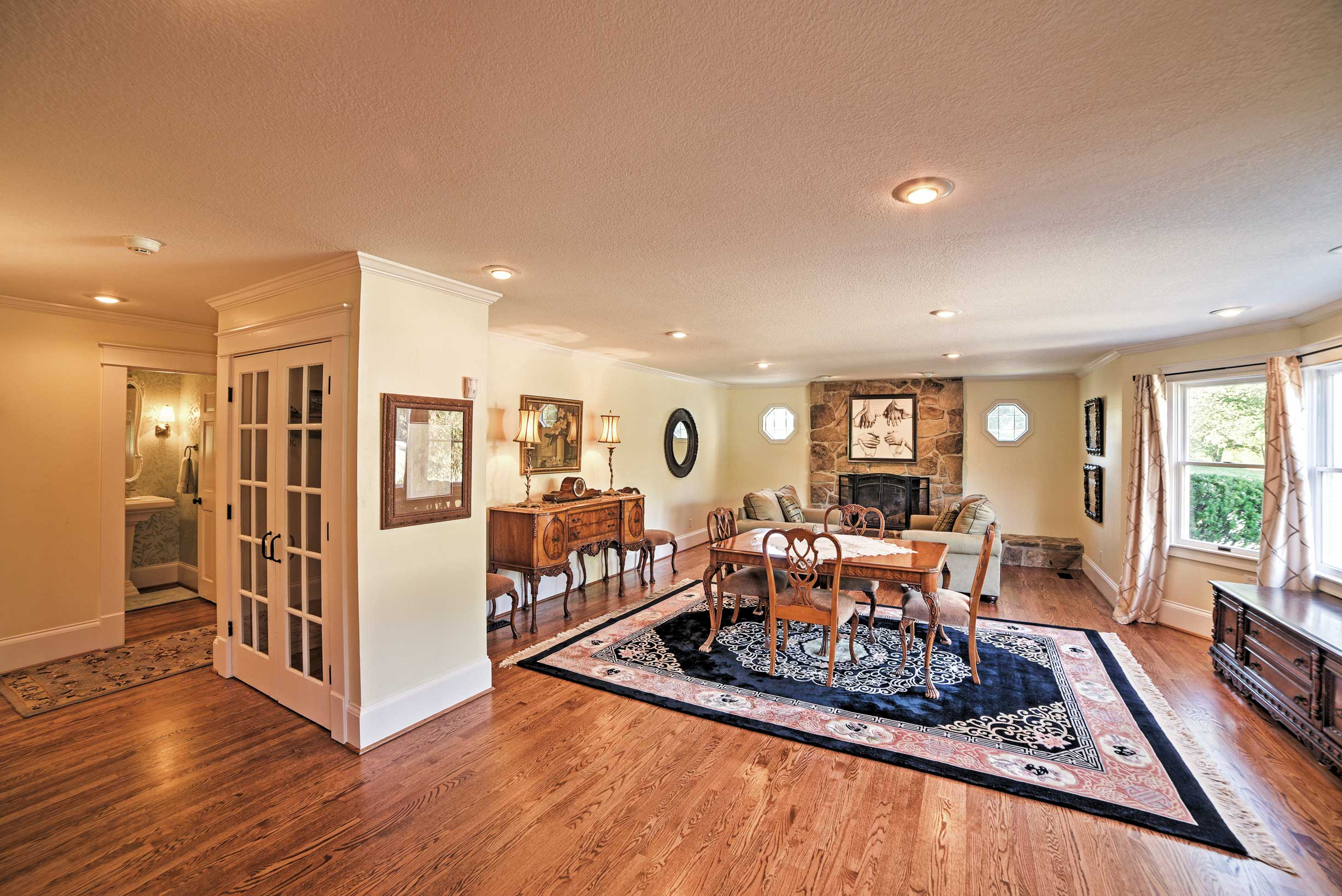 Step inside to find a warm, inviting interior.