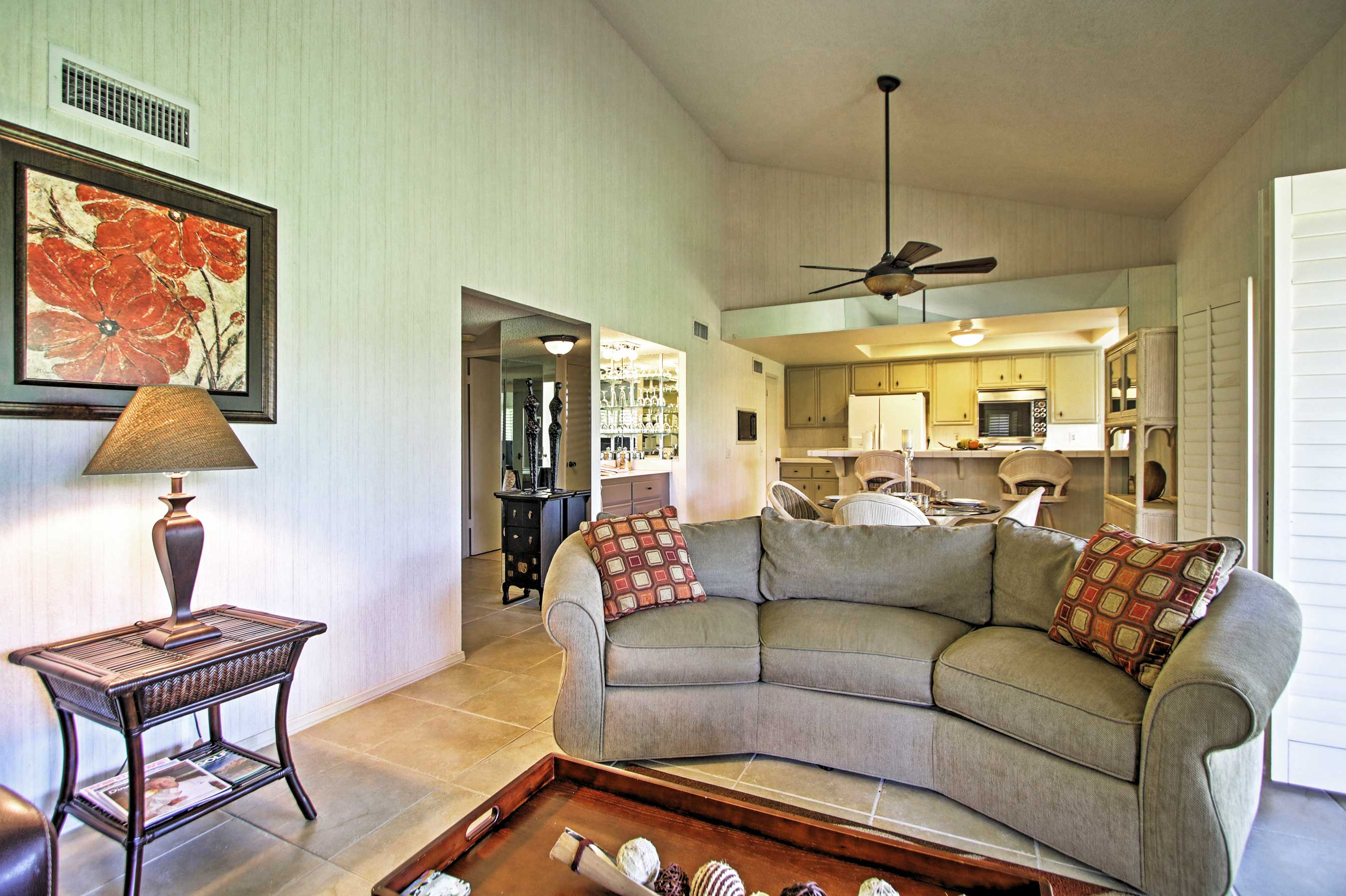 The open floor plan allows for easy communication with others.