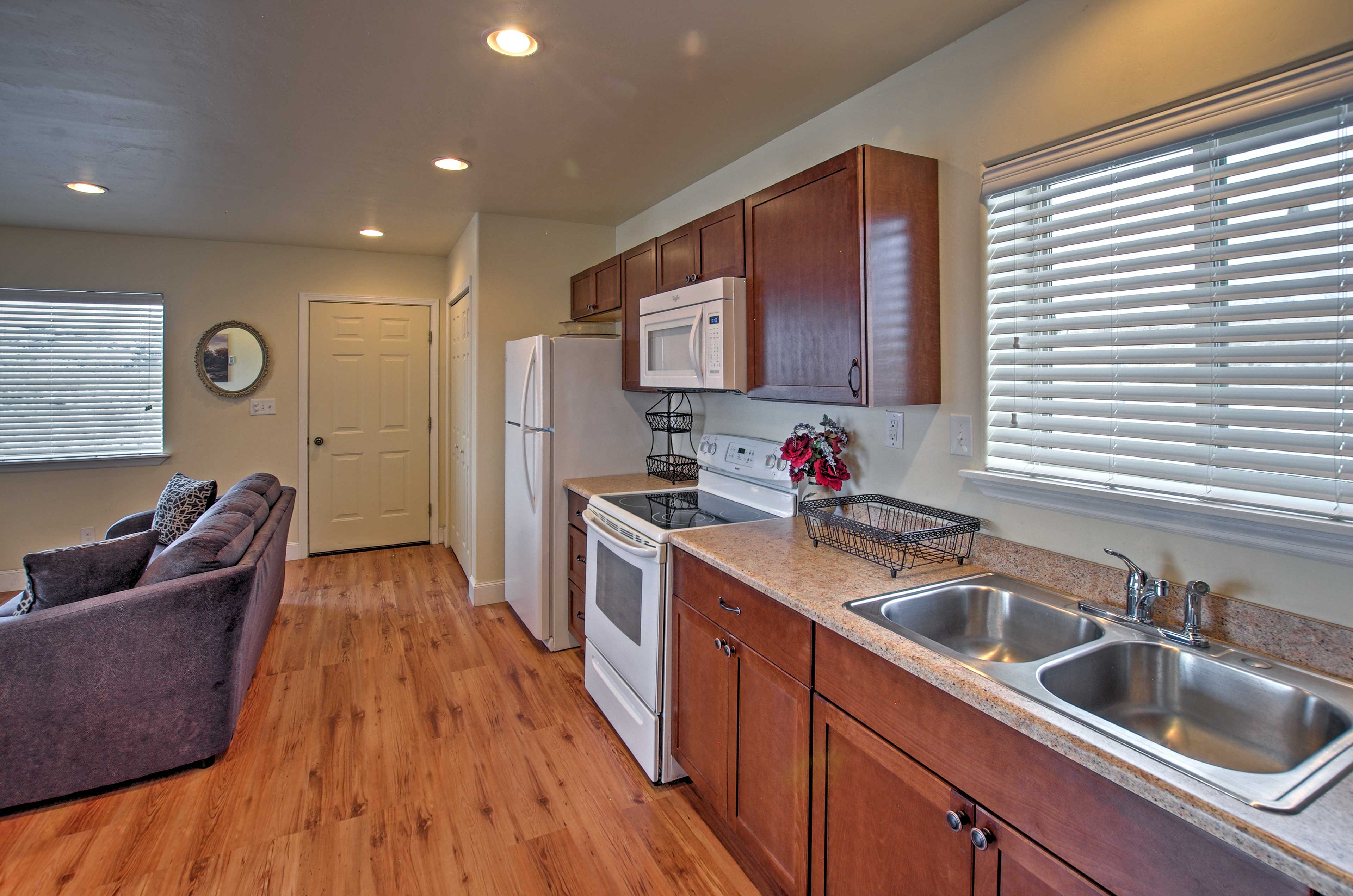 You'll love the convenience of the well-stocked kitchen.