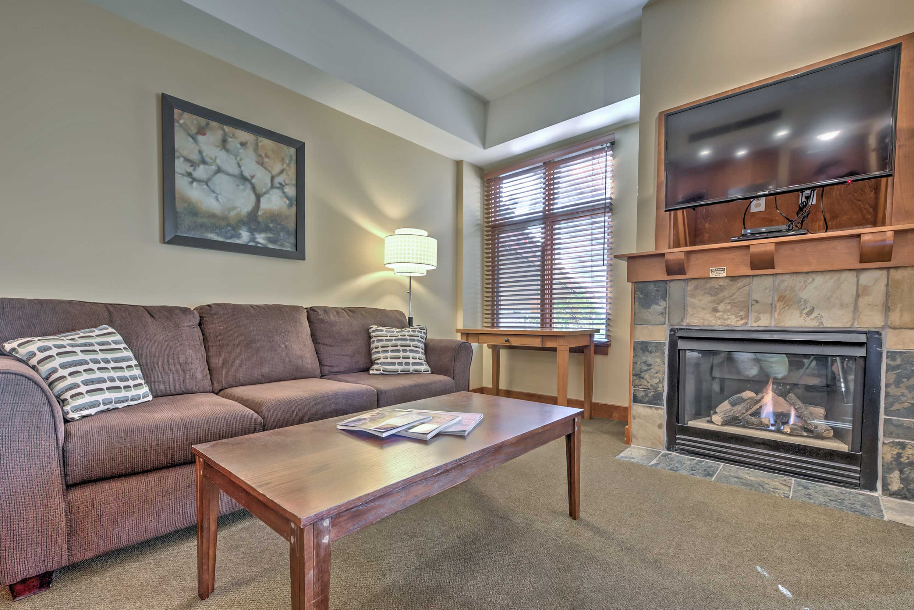 Cozy up by the gas fireplace!