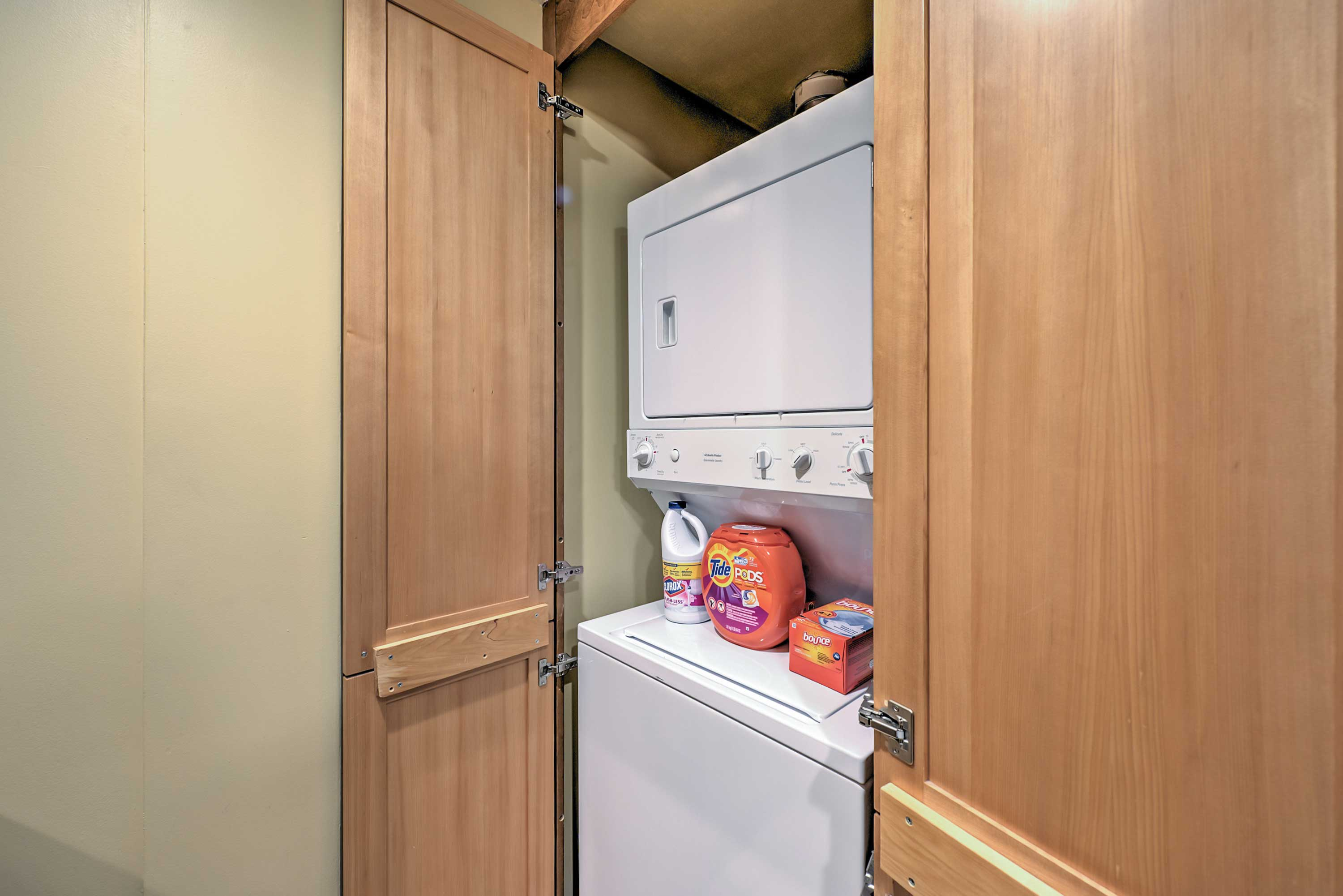 The in-unit washer and dryer will keep clothes and linens clean during your entire stay.