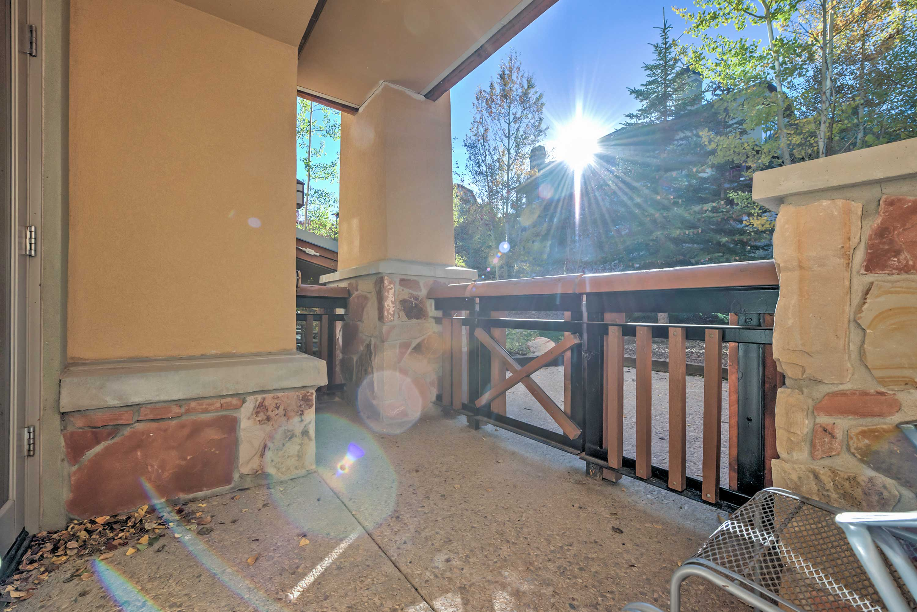 Sip your morning coffee on the private patio!