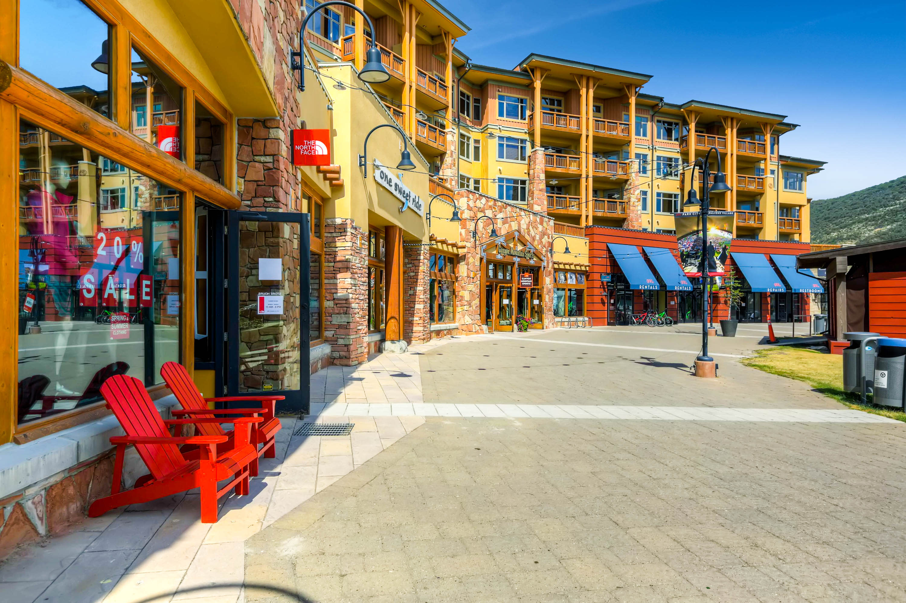 Ski and snowboard rentals are located right underneath the Lodge, along with multiple retail shops.