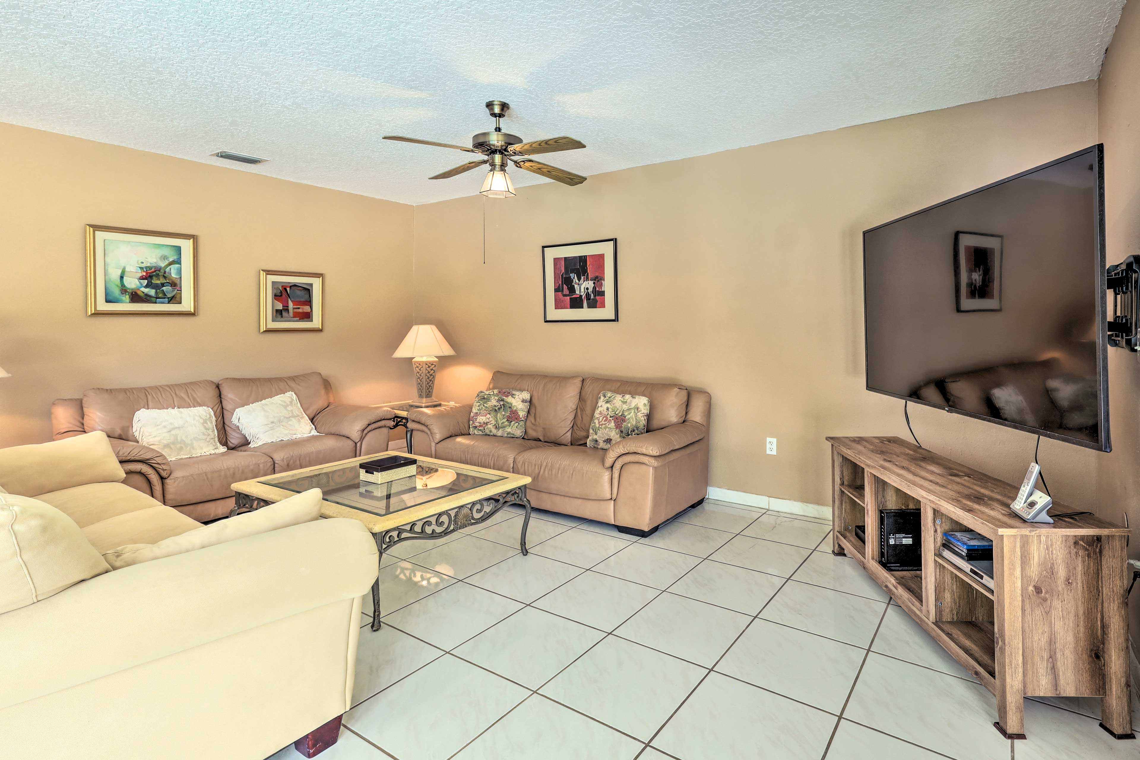 The second living area provides additional space to hang out.