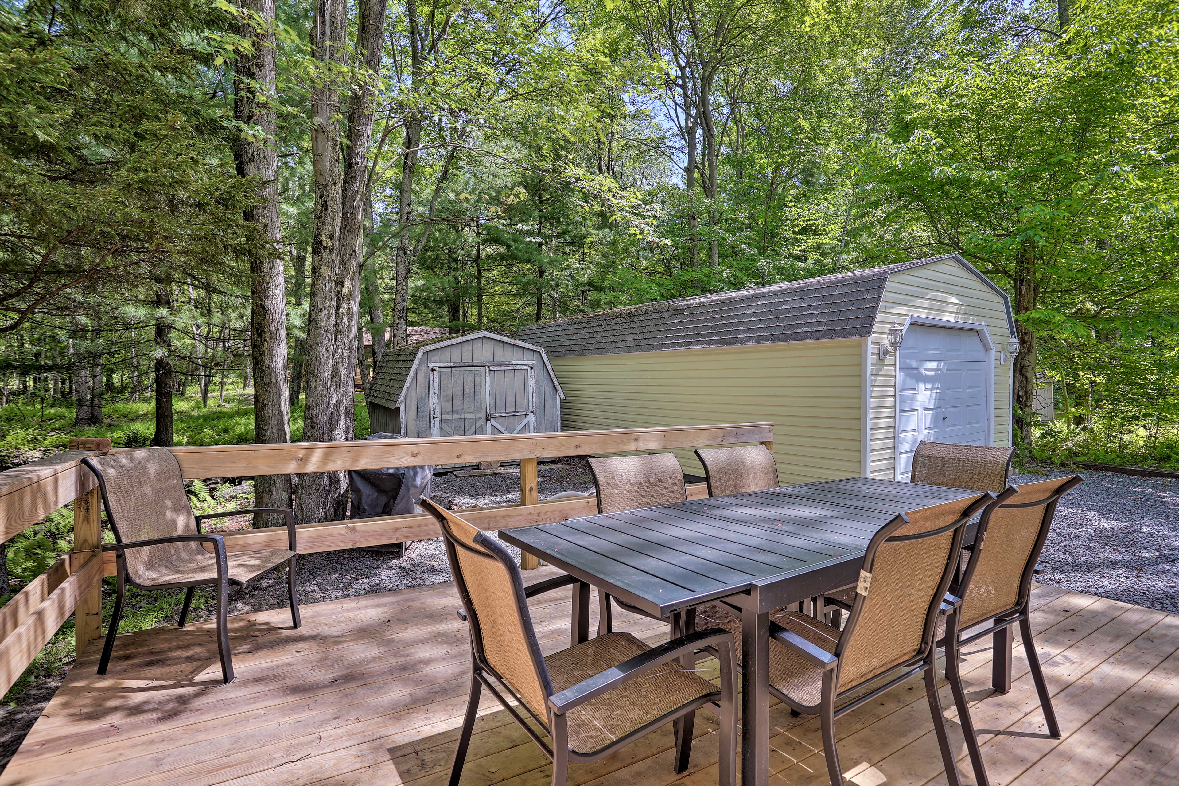 Have a cookout while relaxing on the private porch.