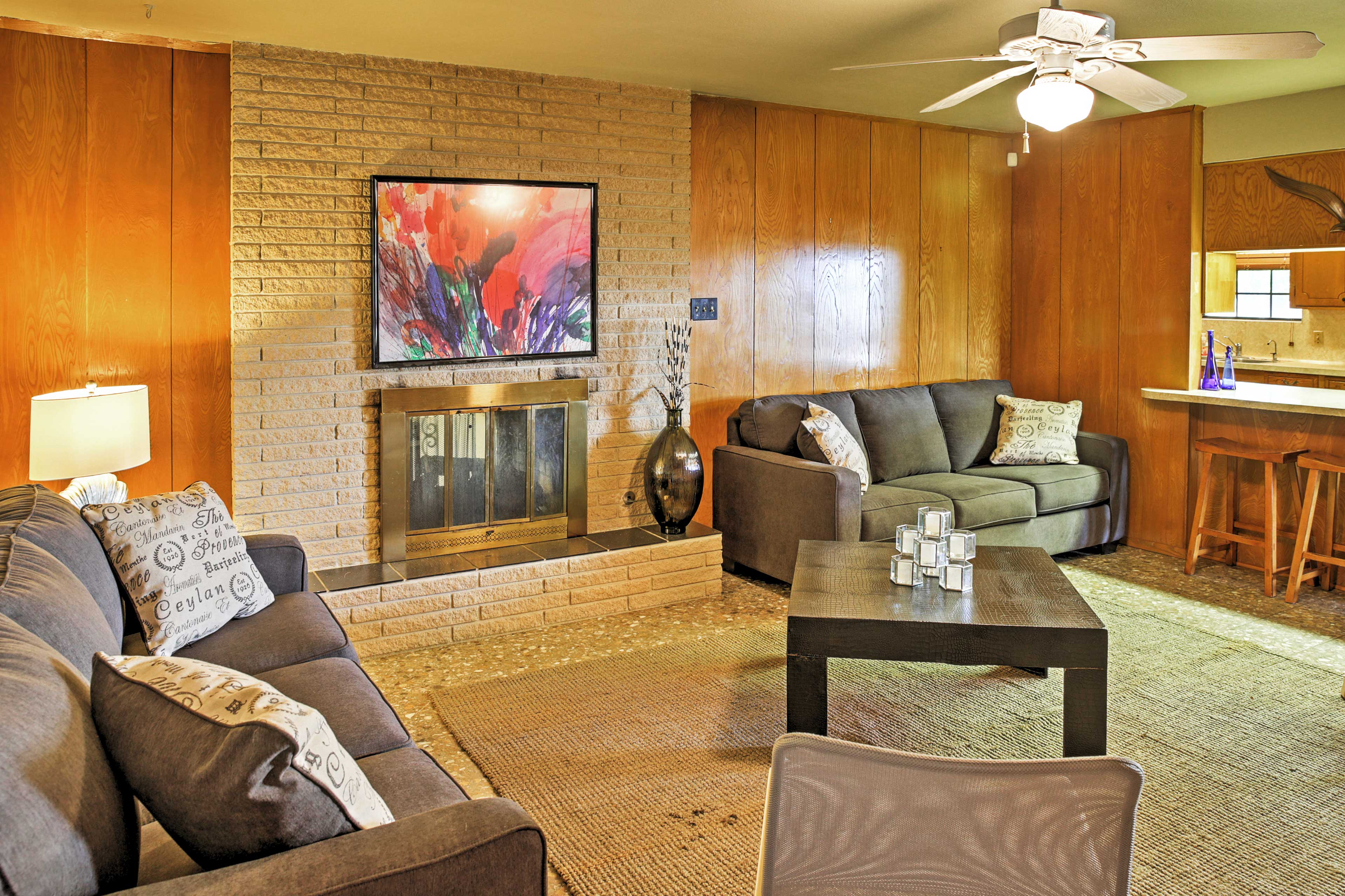 Lounge on the comfy couches in the living area.