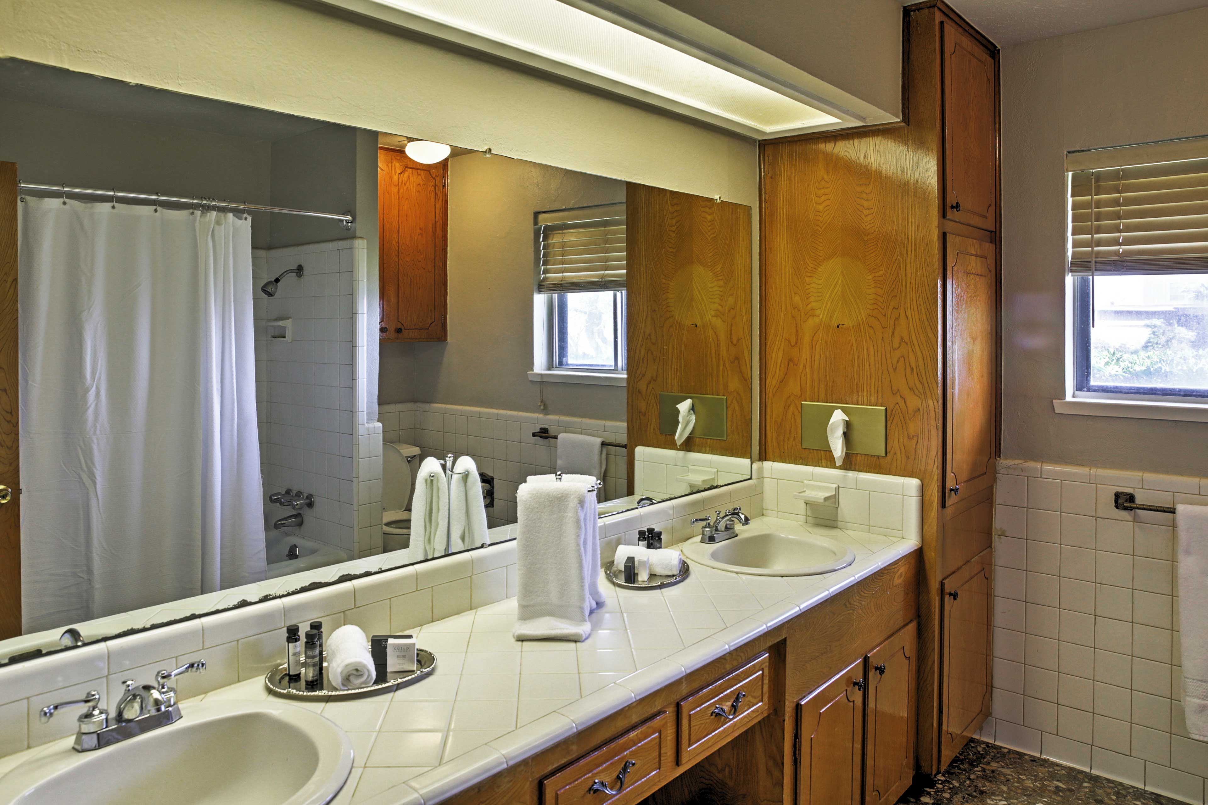 Utilize the abundance of counterspace in the bathroom!