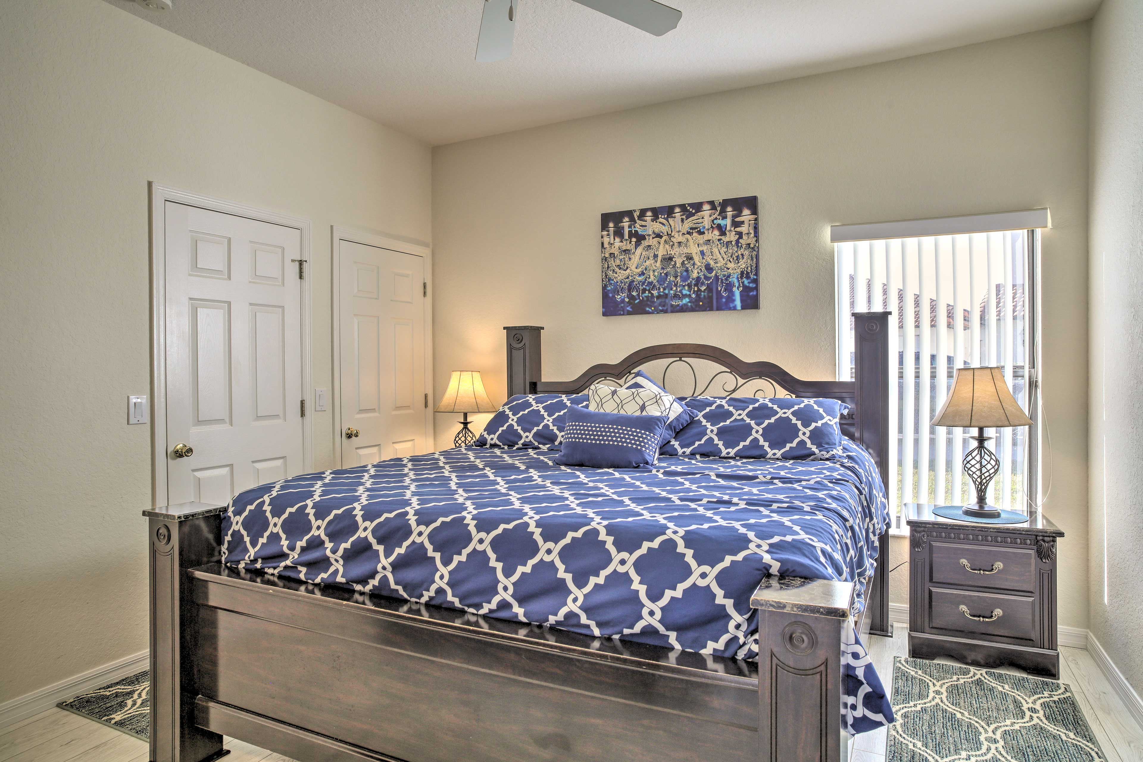 Catch up on some much-needed sleep in this cozy king-sized bed.