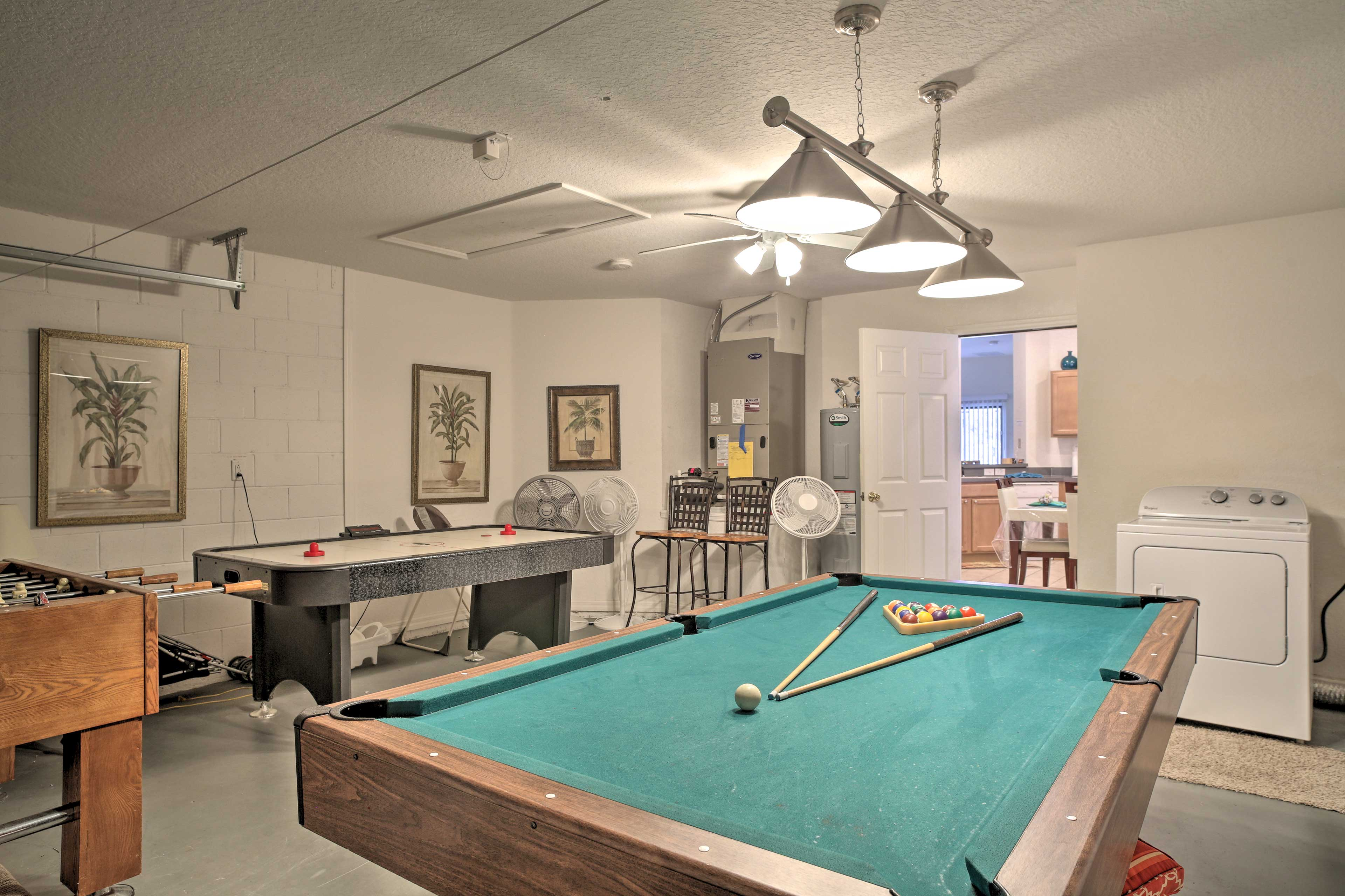Bring out your competitive side in the garage game room!