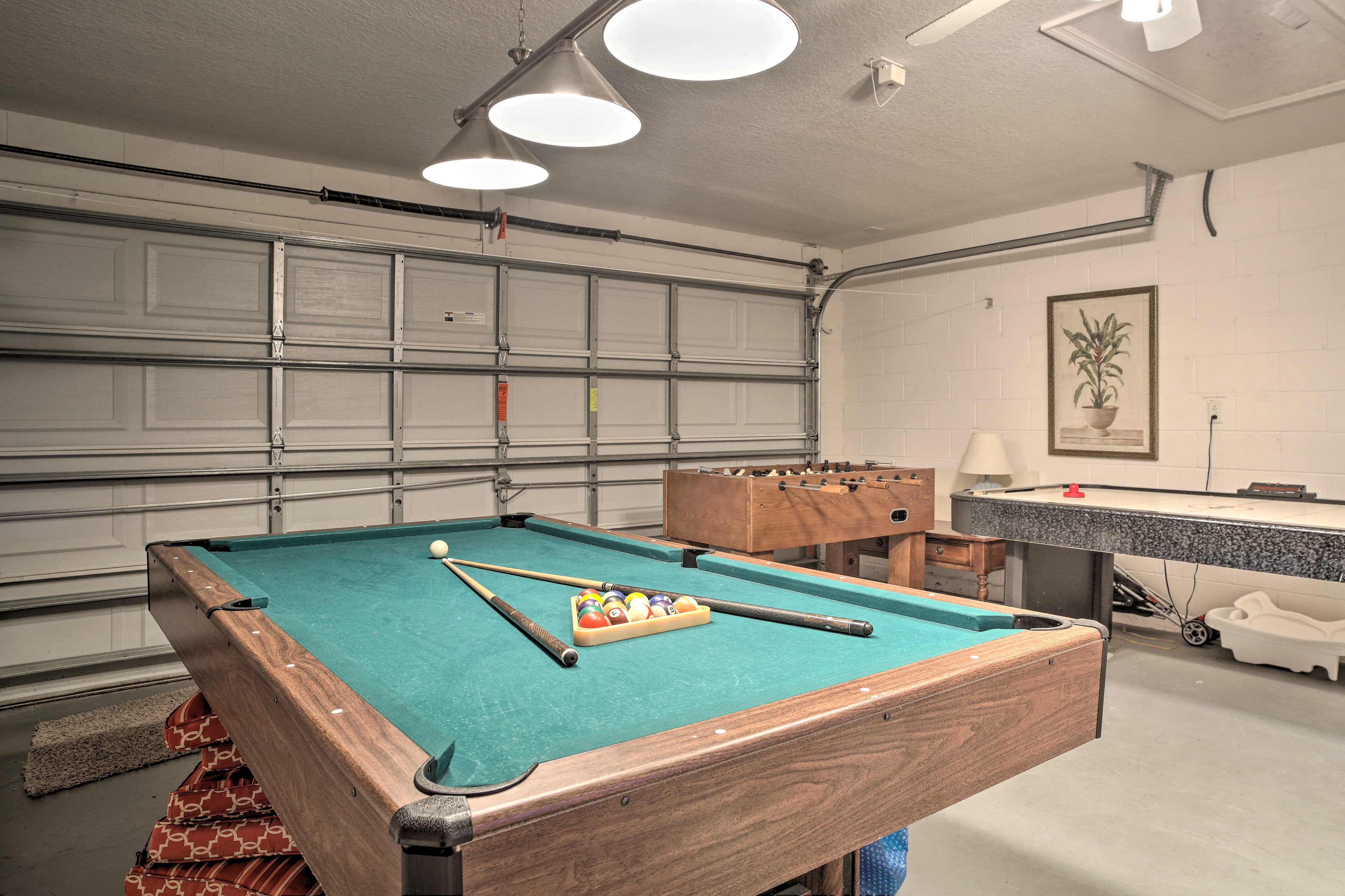 The garage game room even has a foosball table!