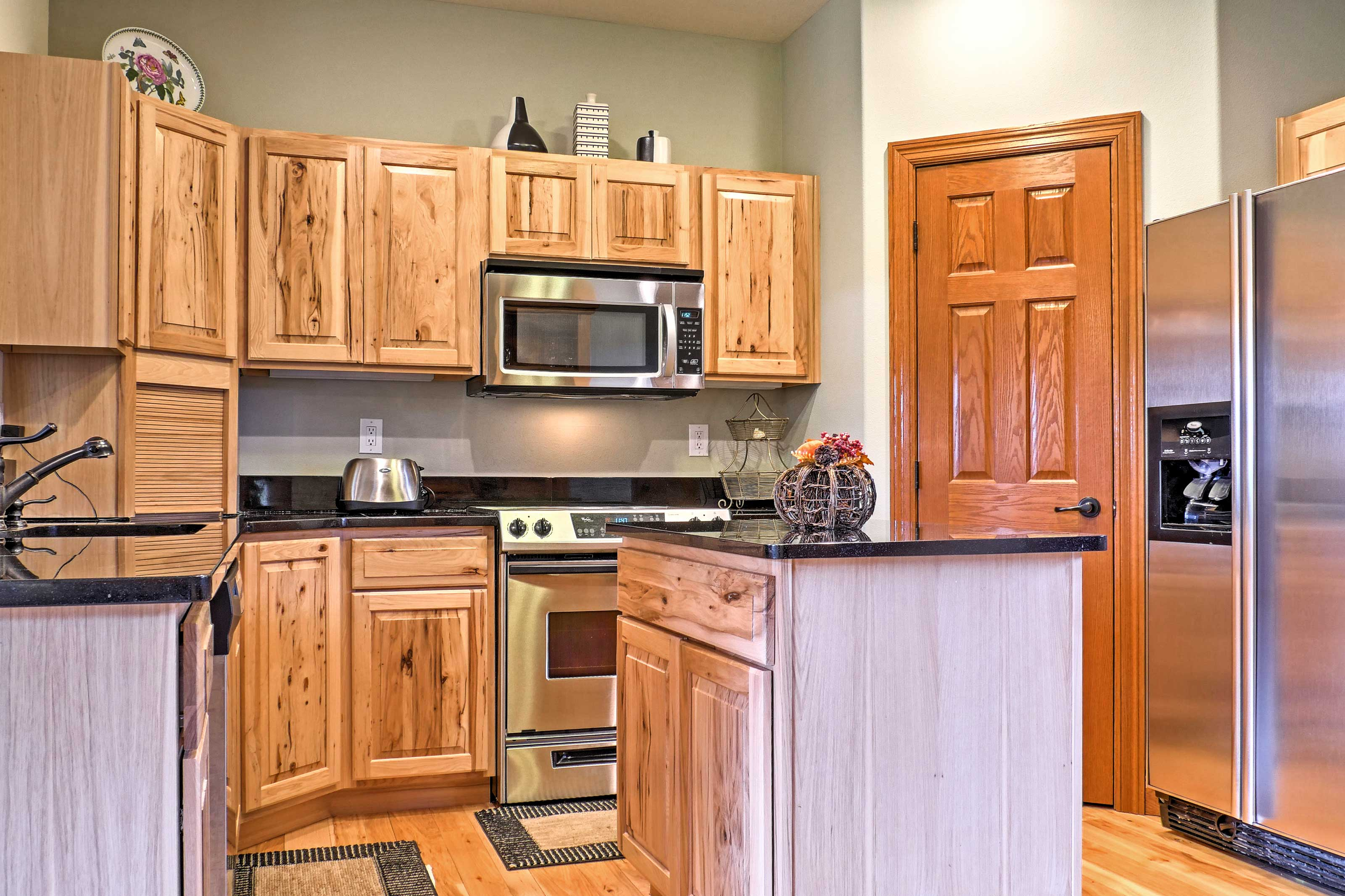 Bring all your favorite recipes to life in the fully equipped kitchen, complete with stainless steel appliances.