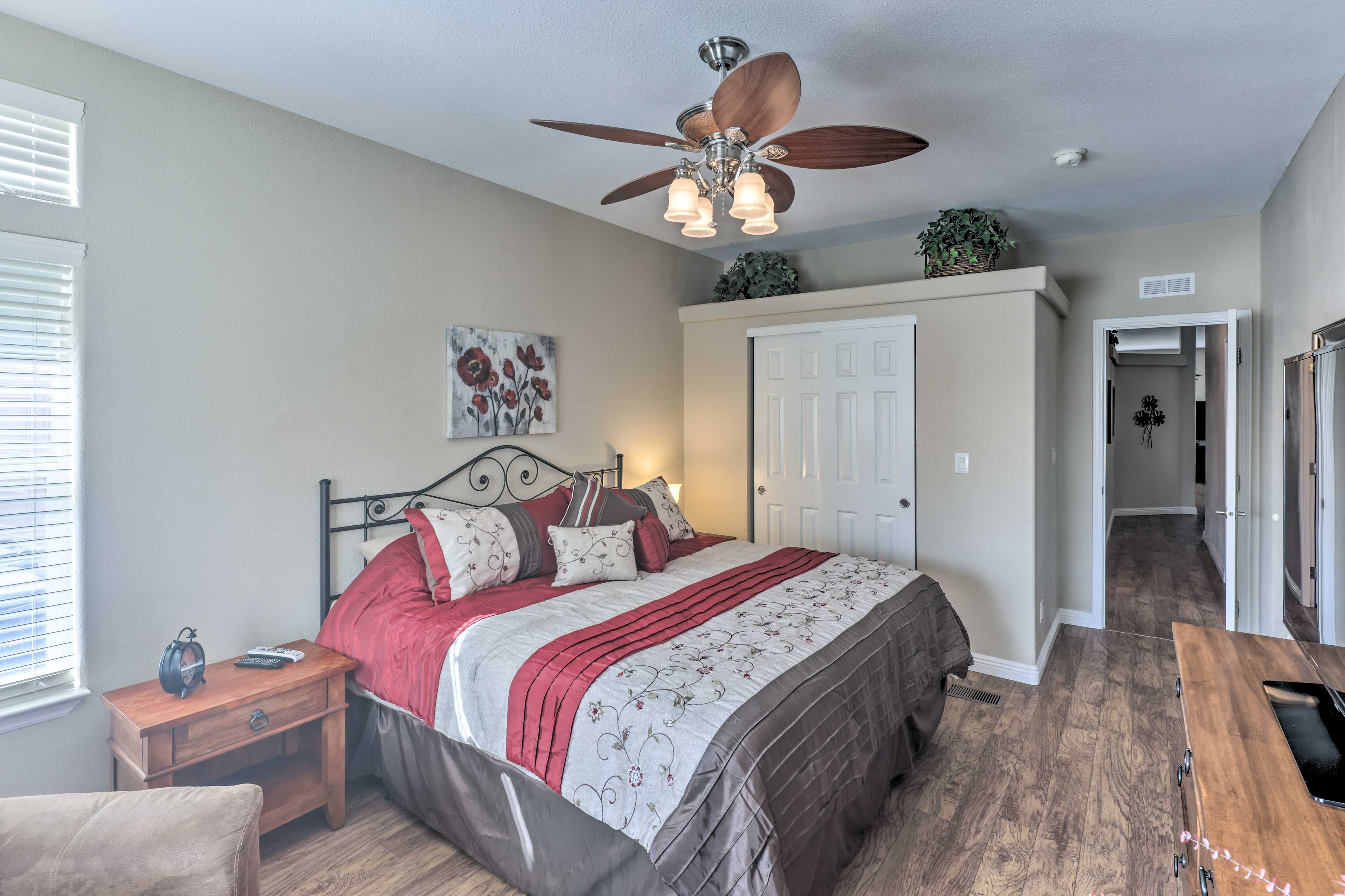 There is a king bed awaiting you in the master bedroom.